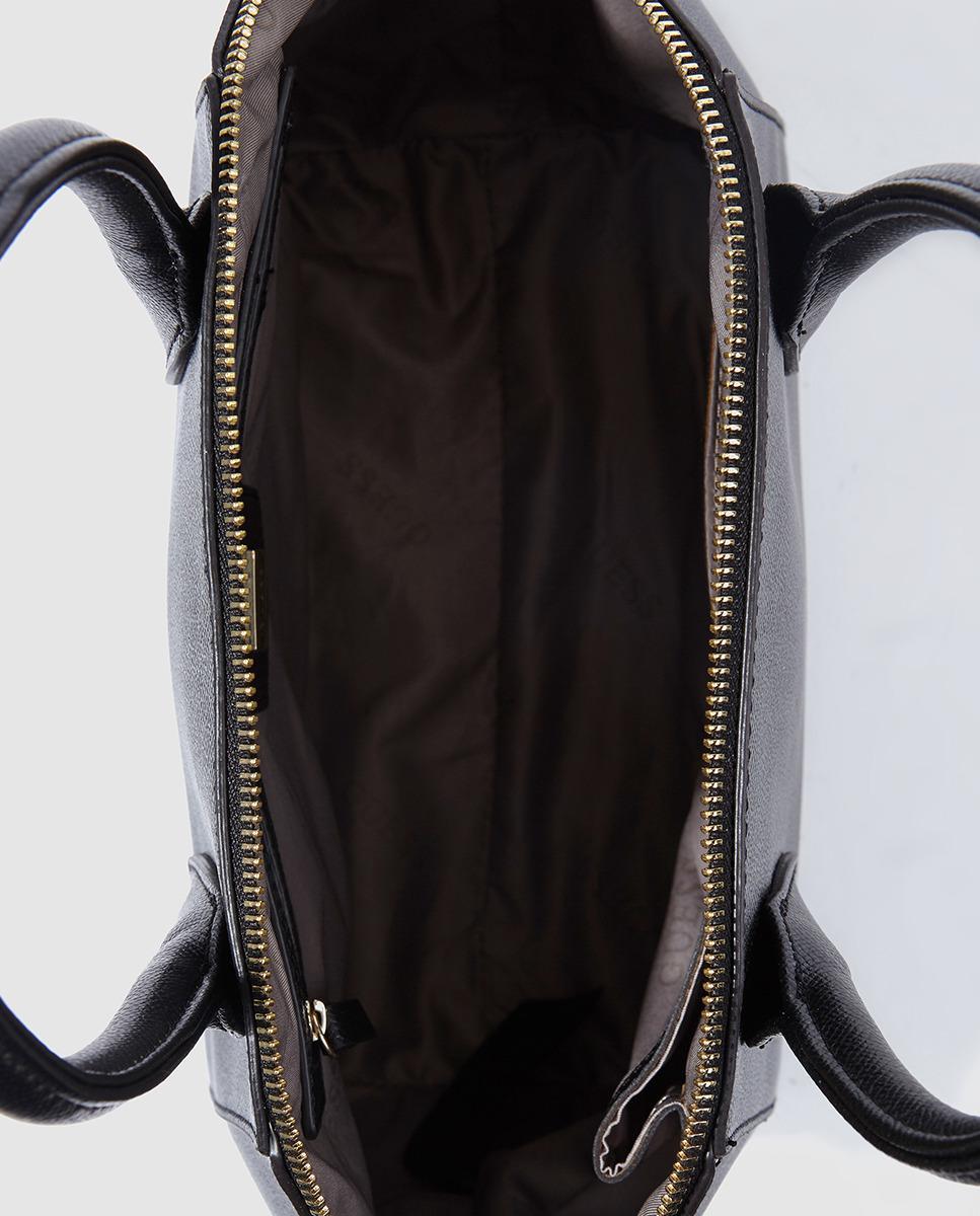 Isabeau Medium Satchel Black Handbag With Zip