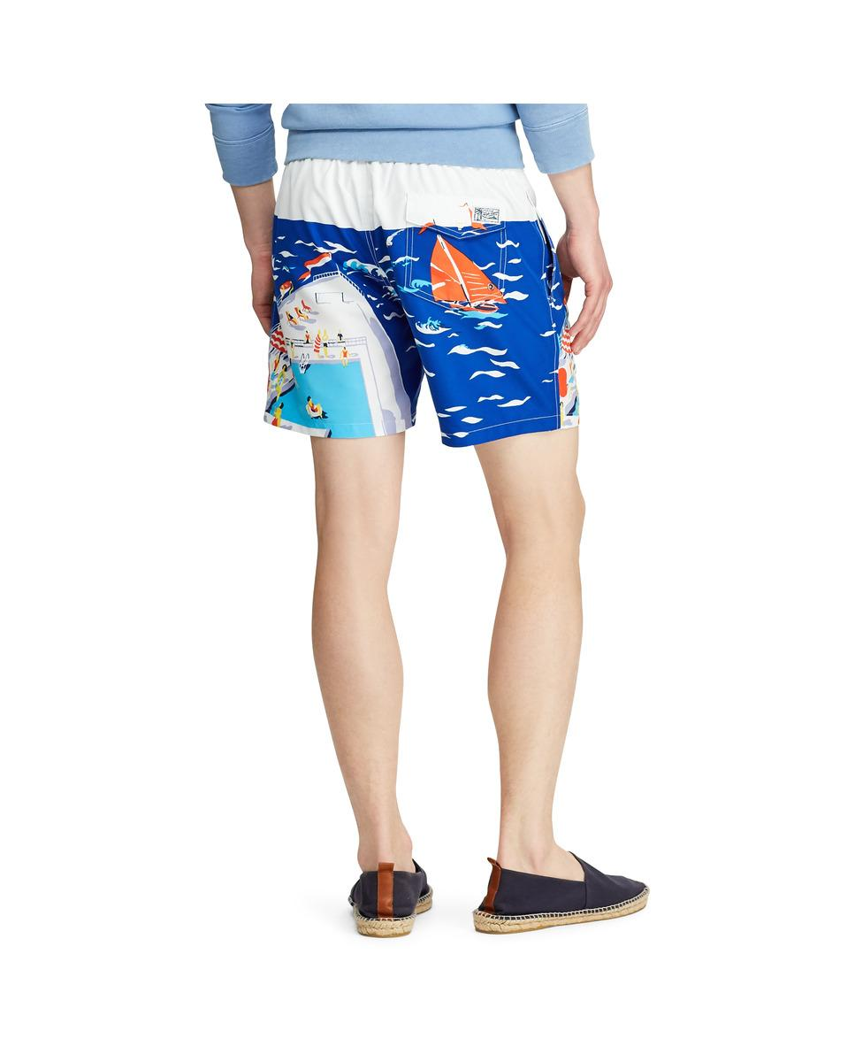 dc8faacd4f Lyst - Polo Ralph Lauren Blue Printed Swim Trunks in Blue for Men