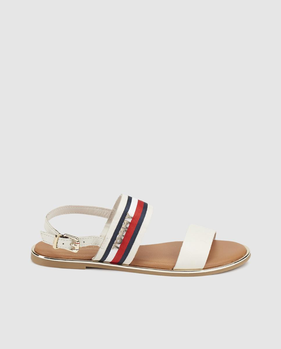 0ae28f510 Lyst - Tommy Hilfiger White Flat Sandals With Multicoloured Band in ...
