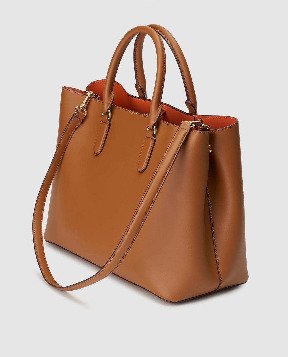 391cb36b5b4a Lyst - Lauren by Ralph Lauren Brown Leather Handbag With Orange Interior in  Brown