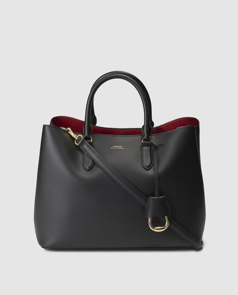 d17c47ee67 Lauren by Ralph Lauren Black Leather Handbag With Red Interior in ...