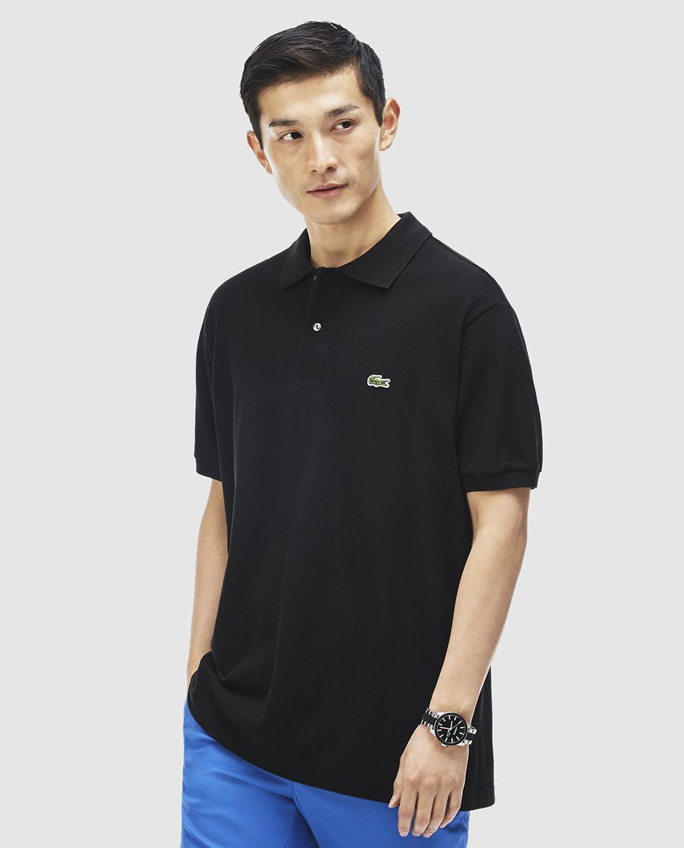Lacoste black short sleeve polo shirt in black for men lyst for Short sleeve lacoste shirt