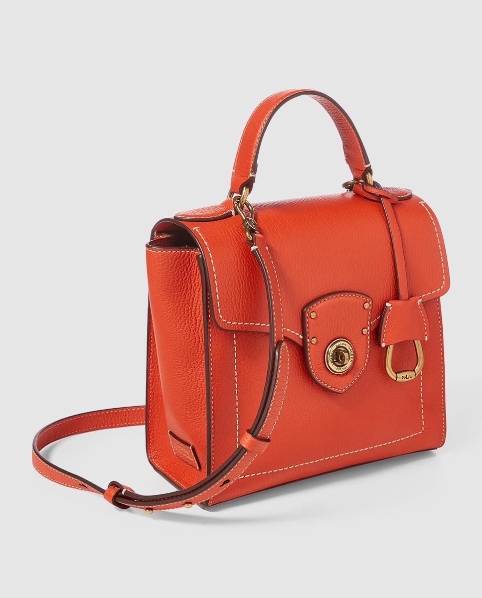 621bae33512a Lyst - Lauren By Ralph Lauren Small Orange Leather Handbag With Contrasting  Topstitching in Orange