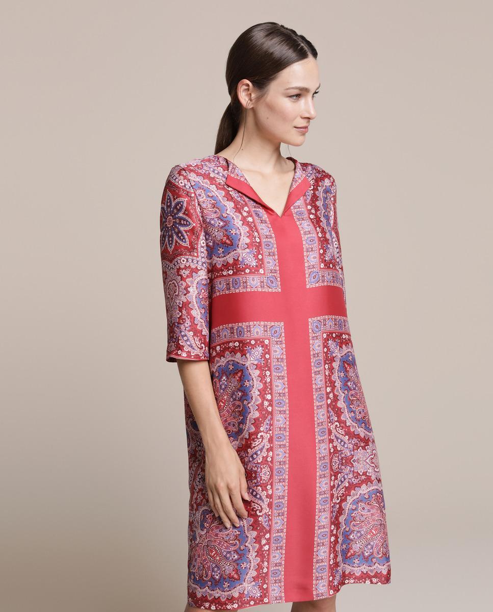Vestido Corto Con Estampado Estilo Pañuelo Woman El Corte Inglés de color Rojo