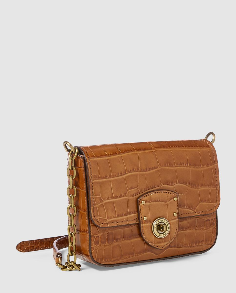 e7e71d0282f5 Lauren by Ralph Lauren Small Brown Mock-croc Leather Crossbody Bag With  Flap in Brown - Lyst
