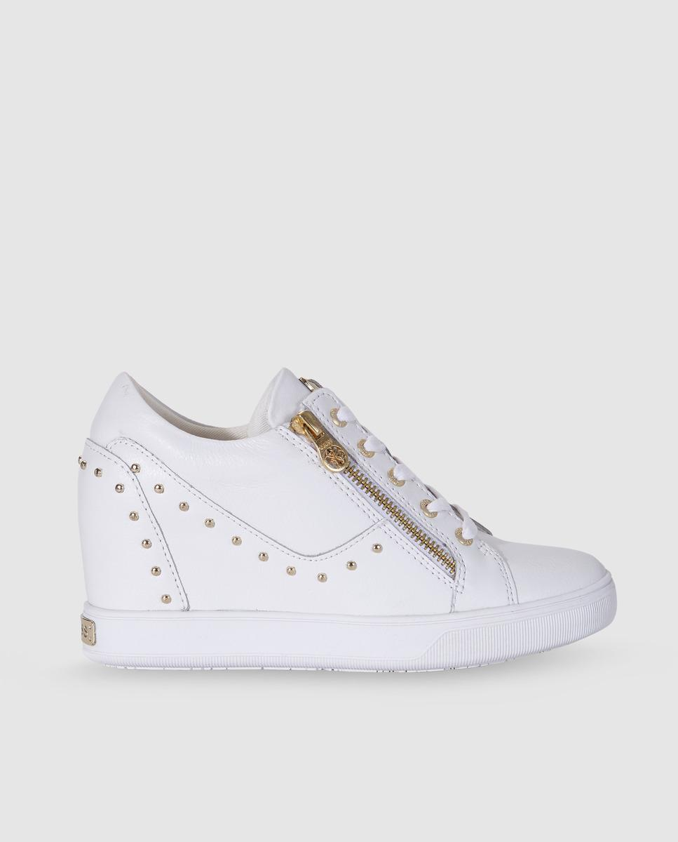 Guess Synthetic White Wedge Trainers - Lyst