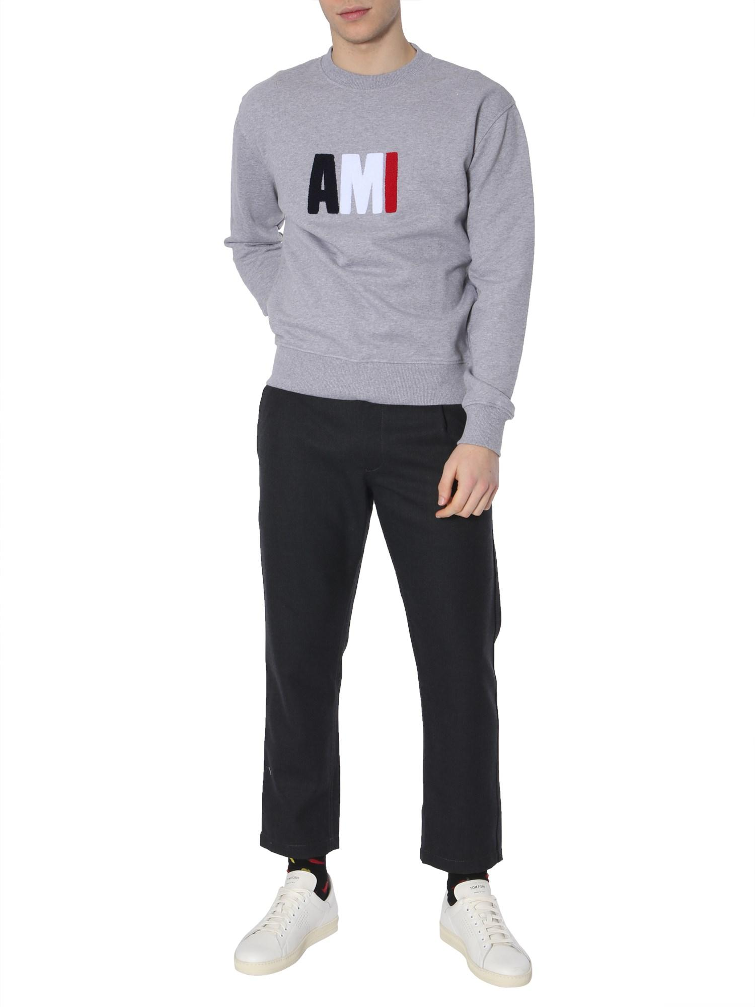 471a90bb Lyst - AMI Cotton Sweatshirt With Embroidered Sponge Logo in Gray ...