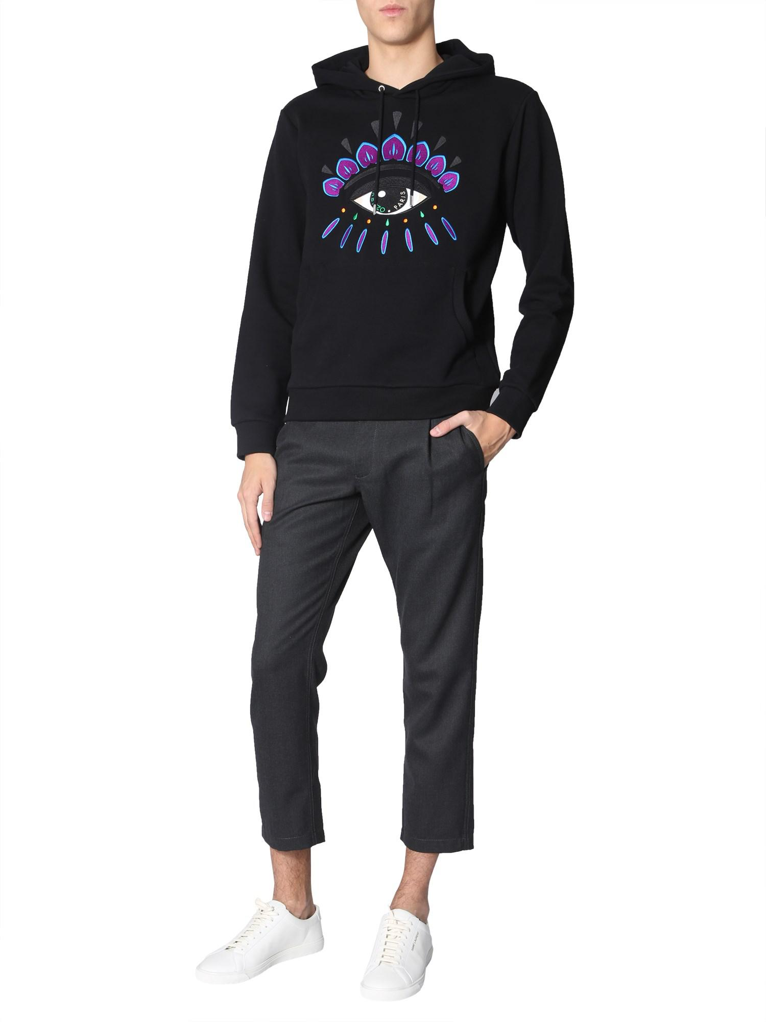 254944896 Kenzo Cotton Hooded Sweatshirt With Embroidered Eye in Black for Men ...