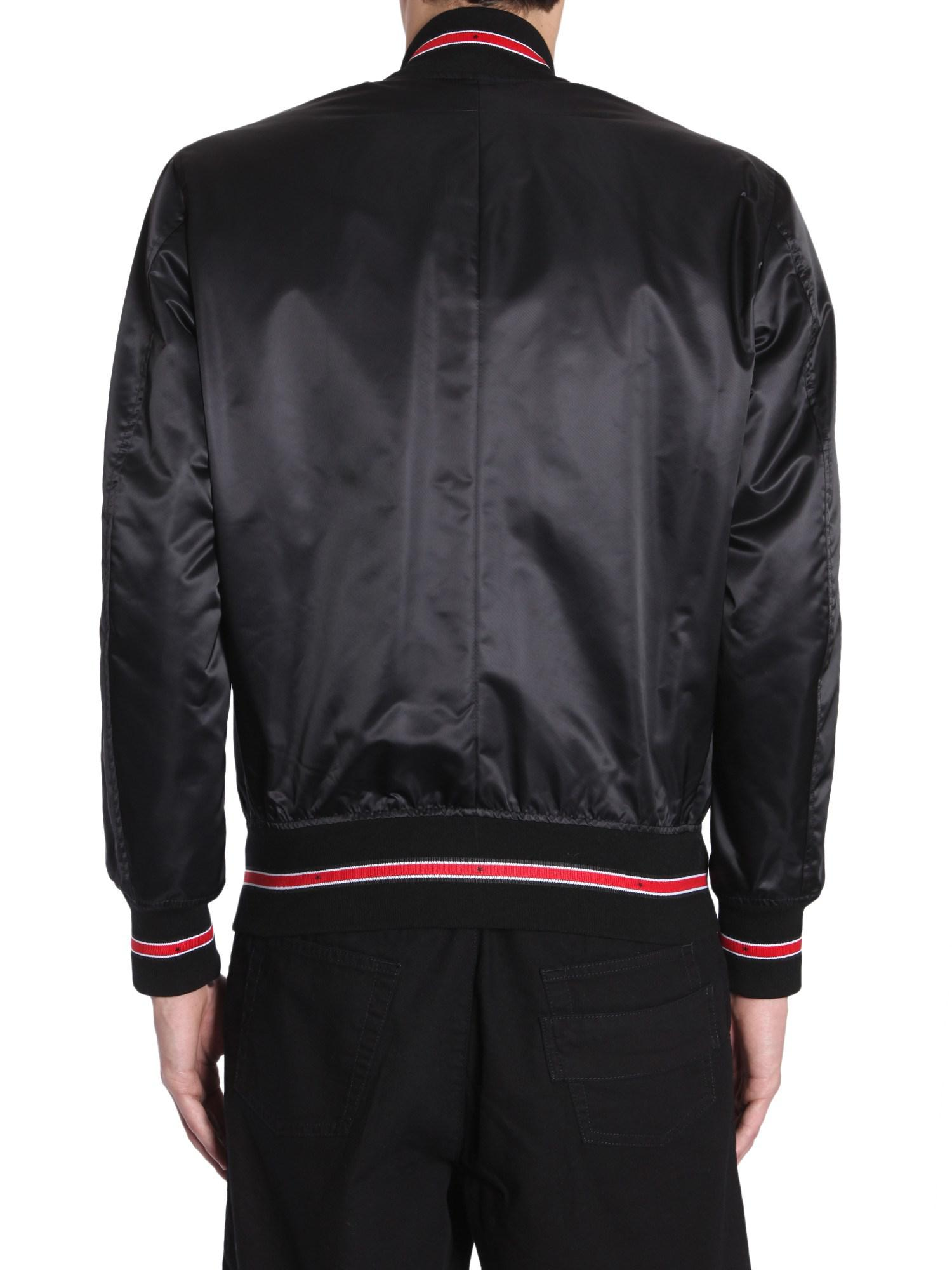 Givenchy Satin Bomber Jacket With Contrast Trim in Black for Men