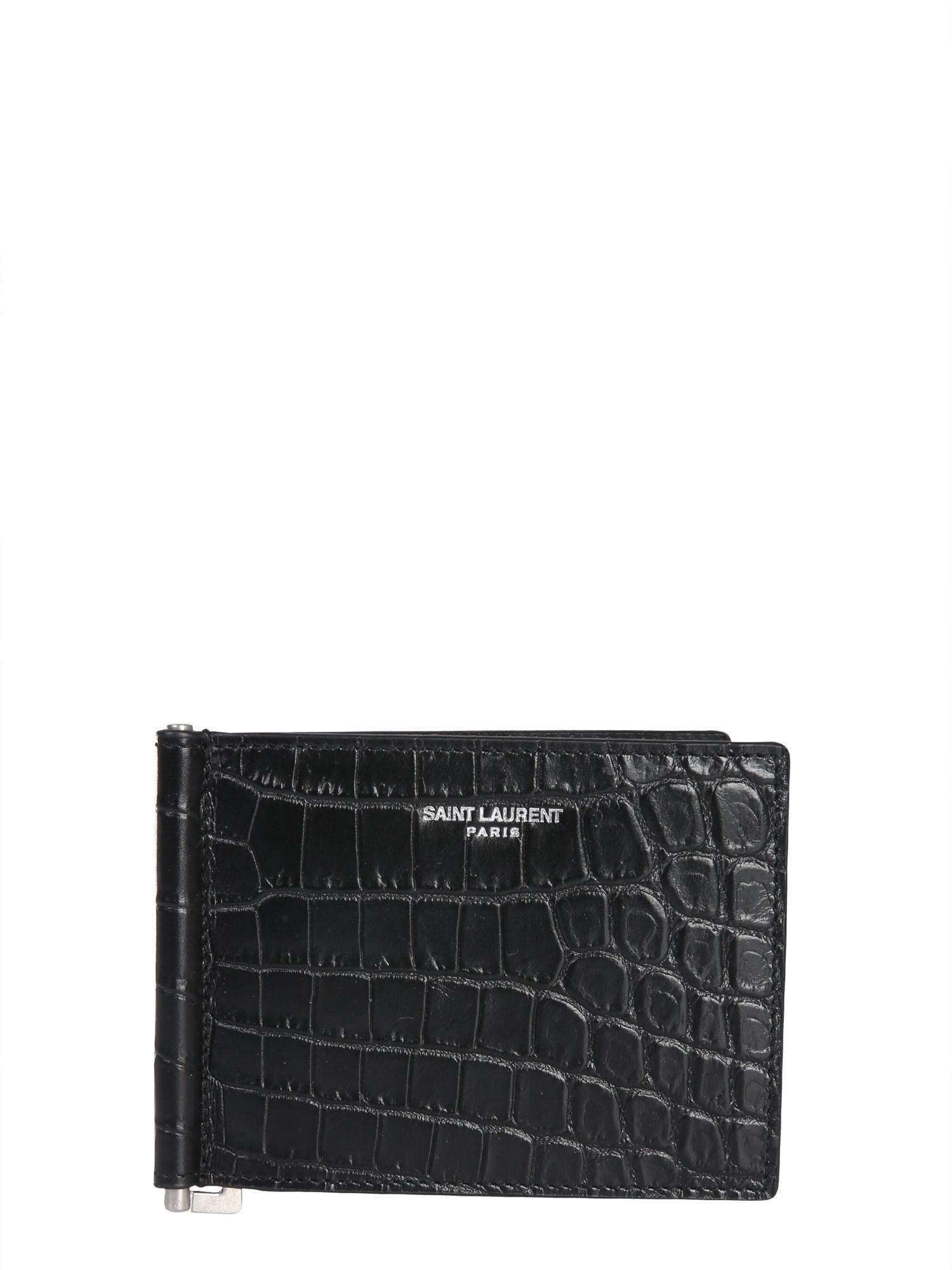 0a6914edcf9 Lyst - Saint Laurent Crocodile Printed Leather Card Holder in Black ...
