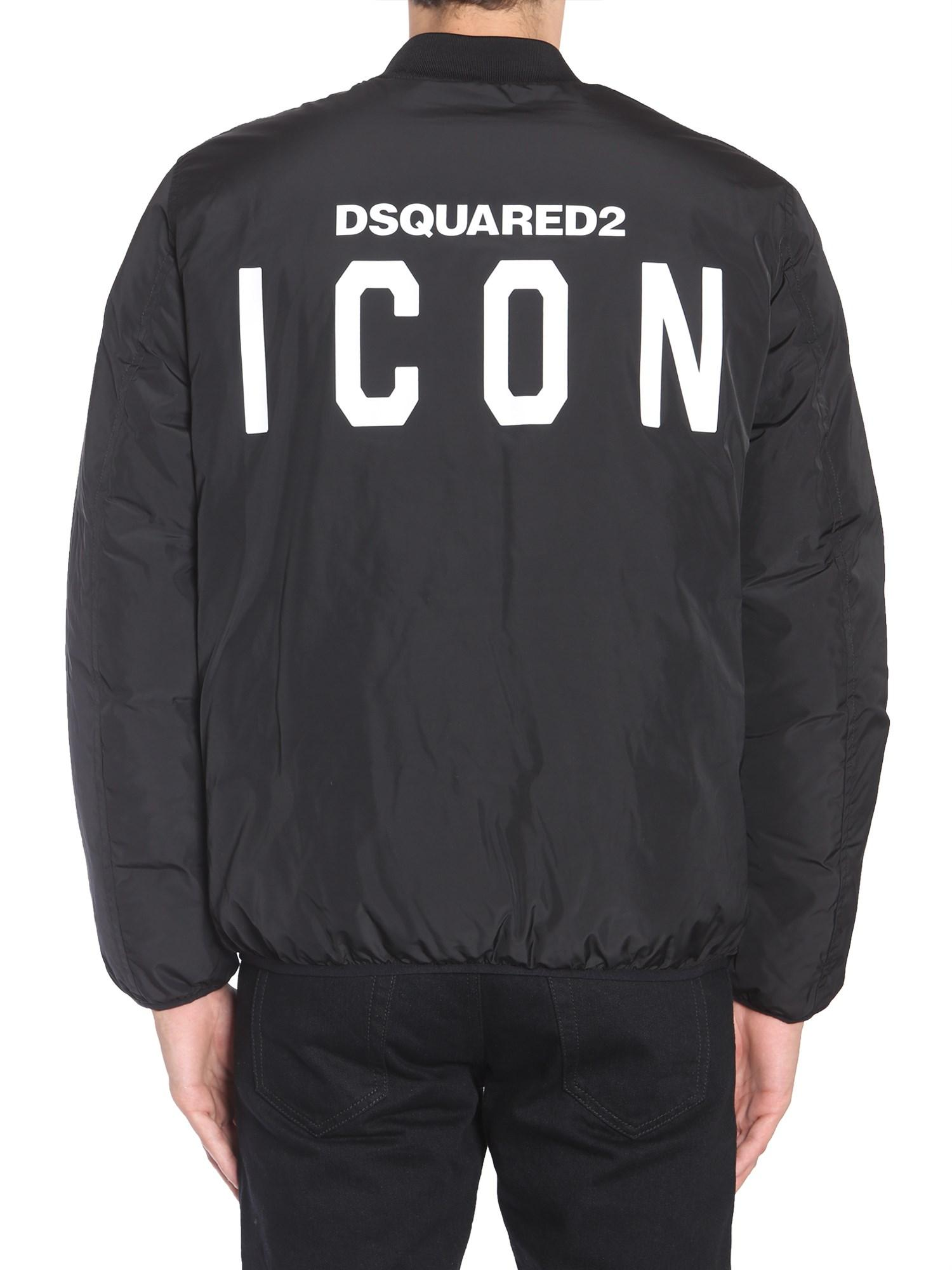 DSquared² Padded Bomber Jacket With Icon Embroidery in Black for Men
