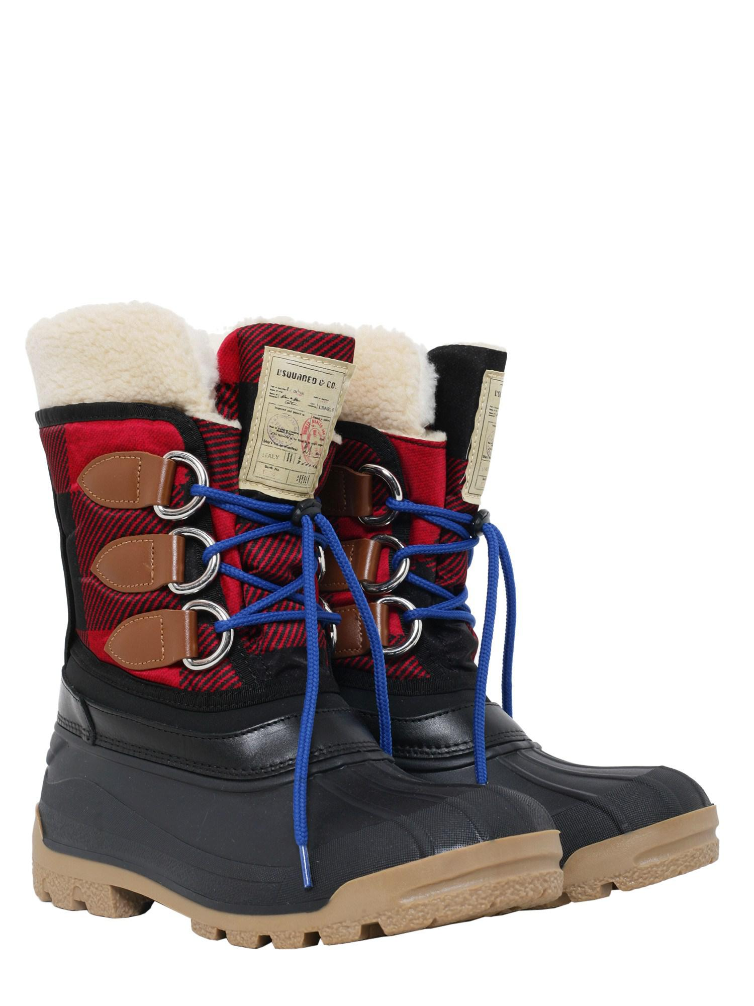 DSquared² Leather Tartan Snow Boots In Technical Fabric in Black