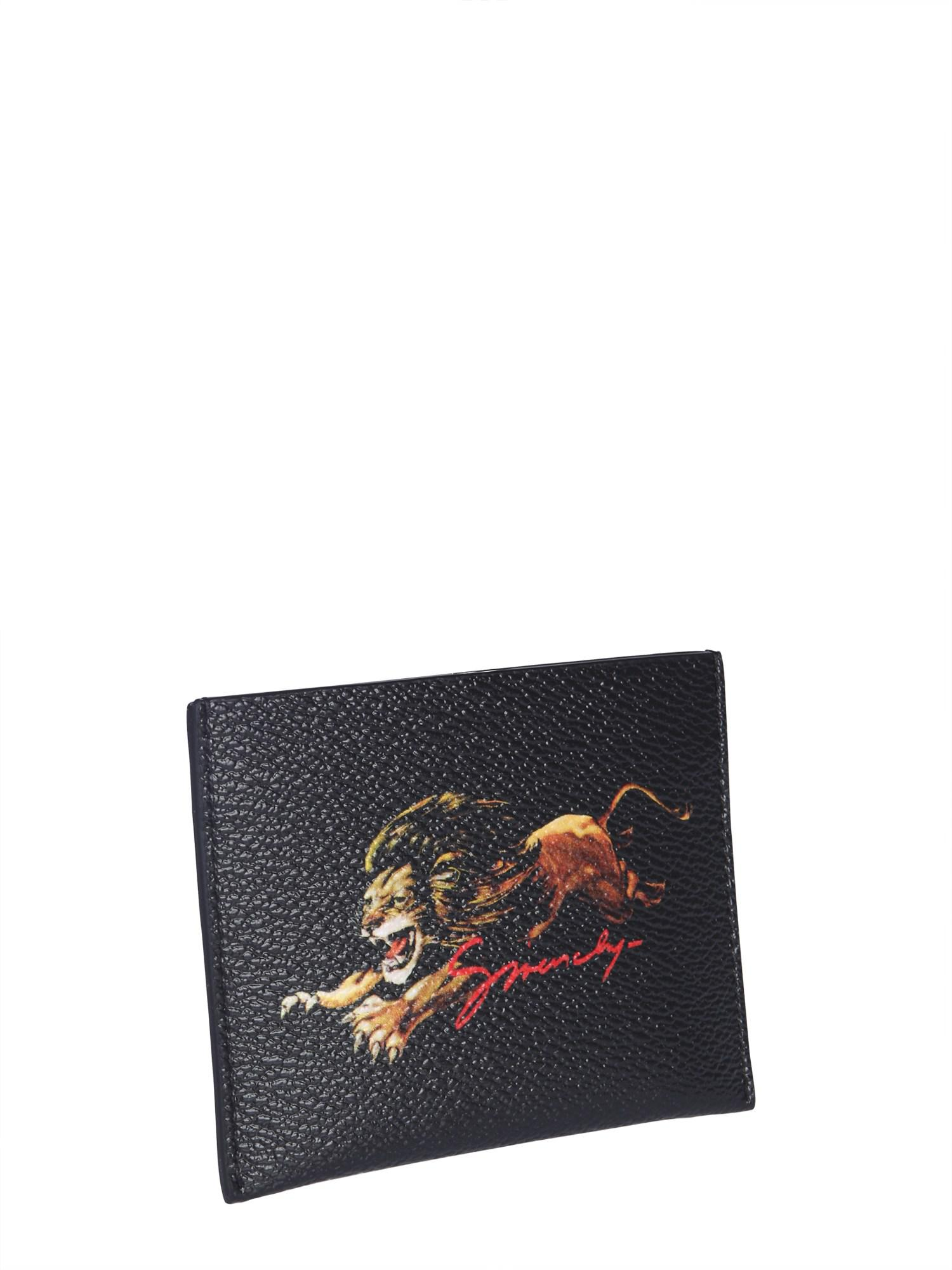 0e9ce4fafed Lyst - Givenchy Card Case With Lion Print in Black