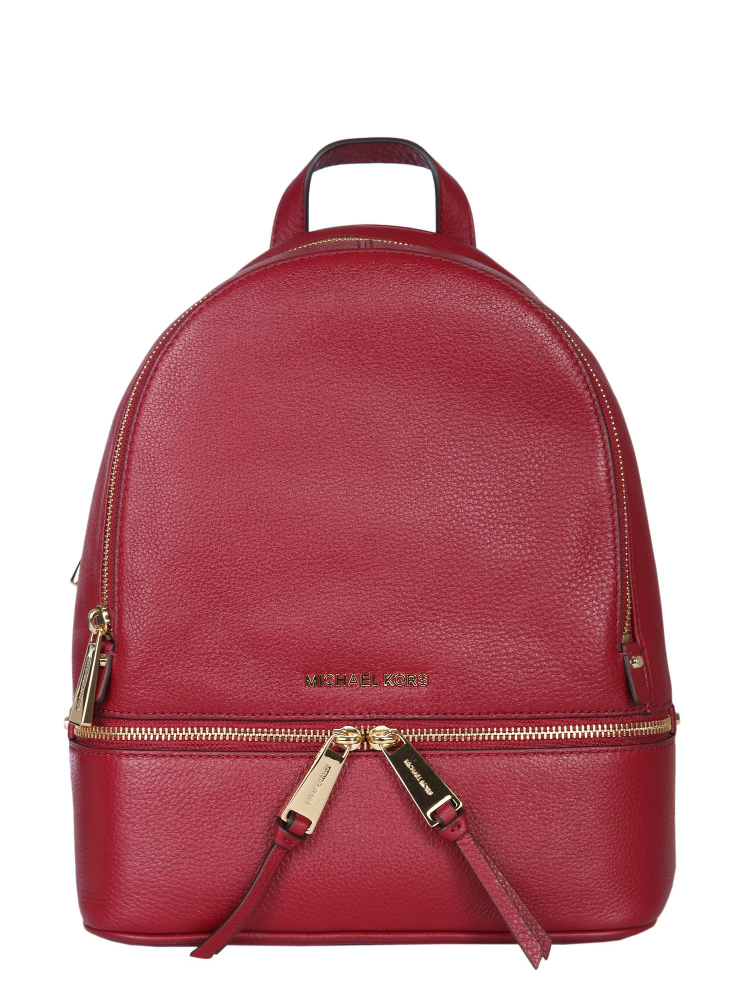 f514181f42f0 Michael Michael Kors Zaino Medium Rhea Zip In Pelle Bottalata in Red ...