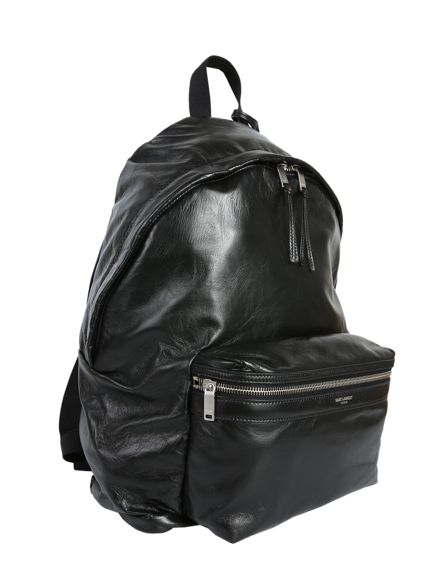 6e41a6ab8010 Saint Laurent - Black Foldable Leather City Backpack - Lyst. View fullscreen