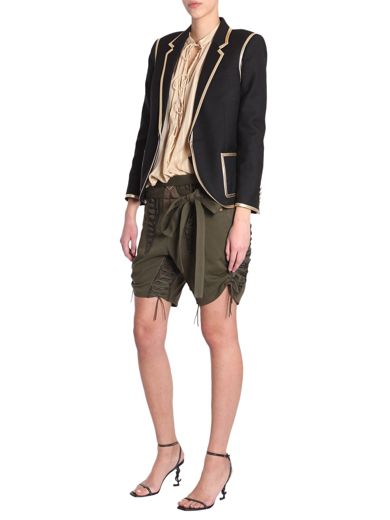 30f1b9130a Saint Laurent Wool Gabardine Jacket With Gold Leather Trim in Black ...