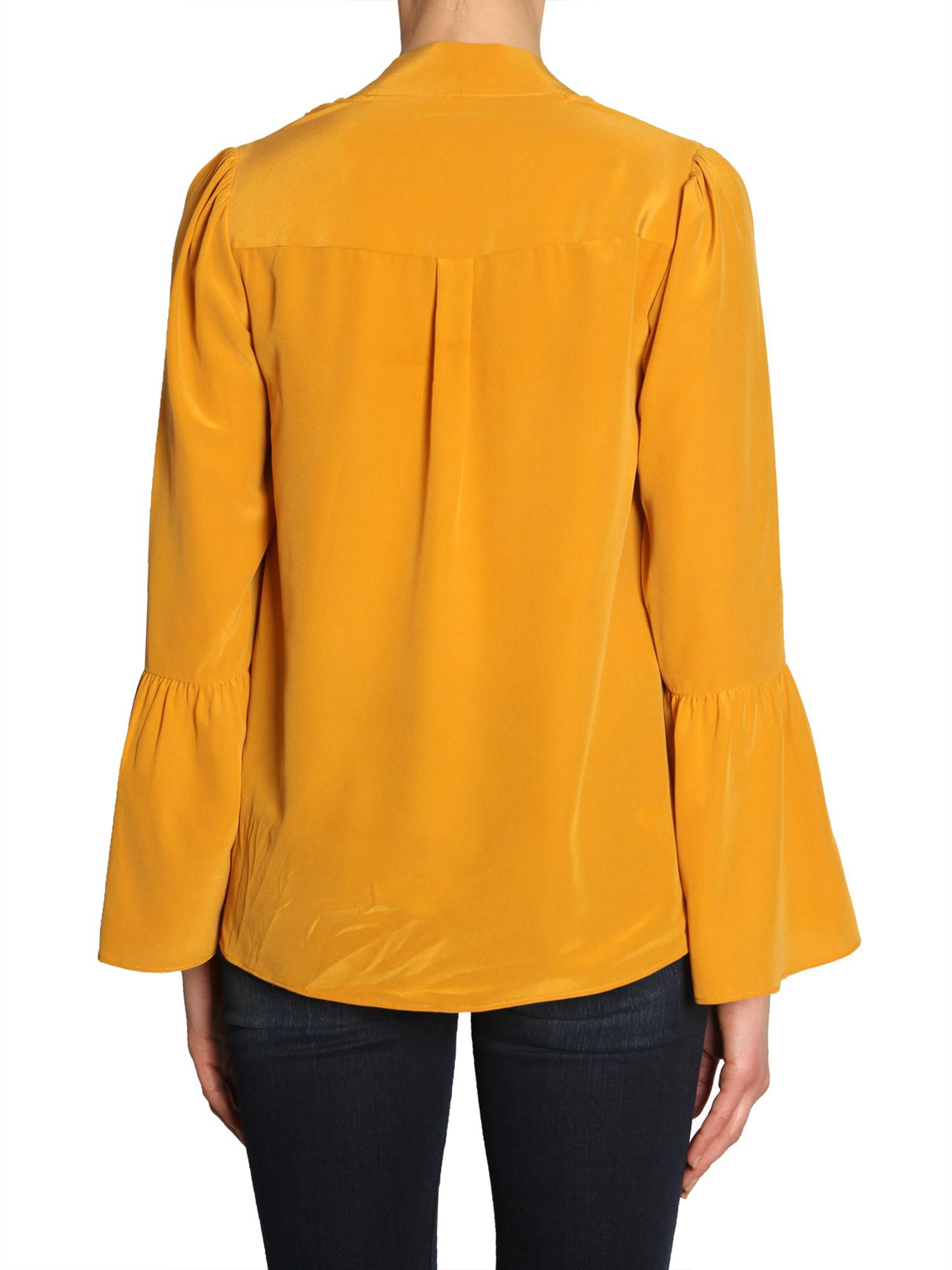 f819bd05abe MICHAEL Michael Kors - Yellow Silk Shirt With Bell Sleeves - Lyst. View  fullscreen
