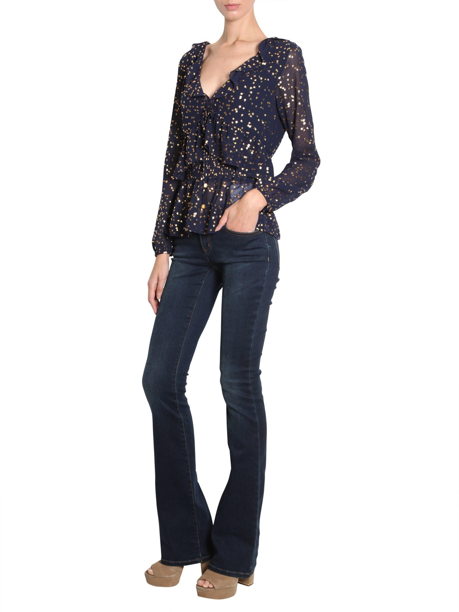 193672a5078e9 Lyst - MICHAEL Michael Kors Flower Printed Chiffon Blouse With ...