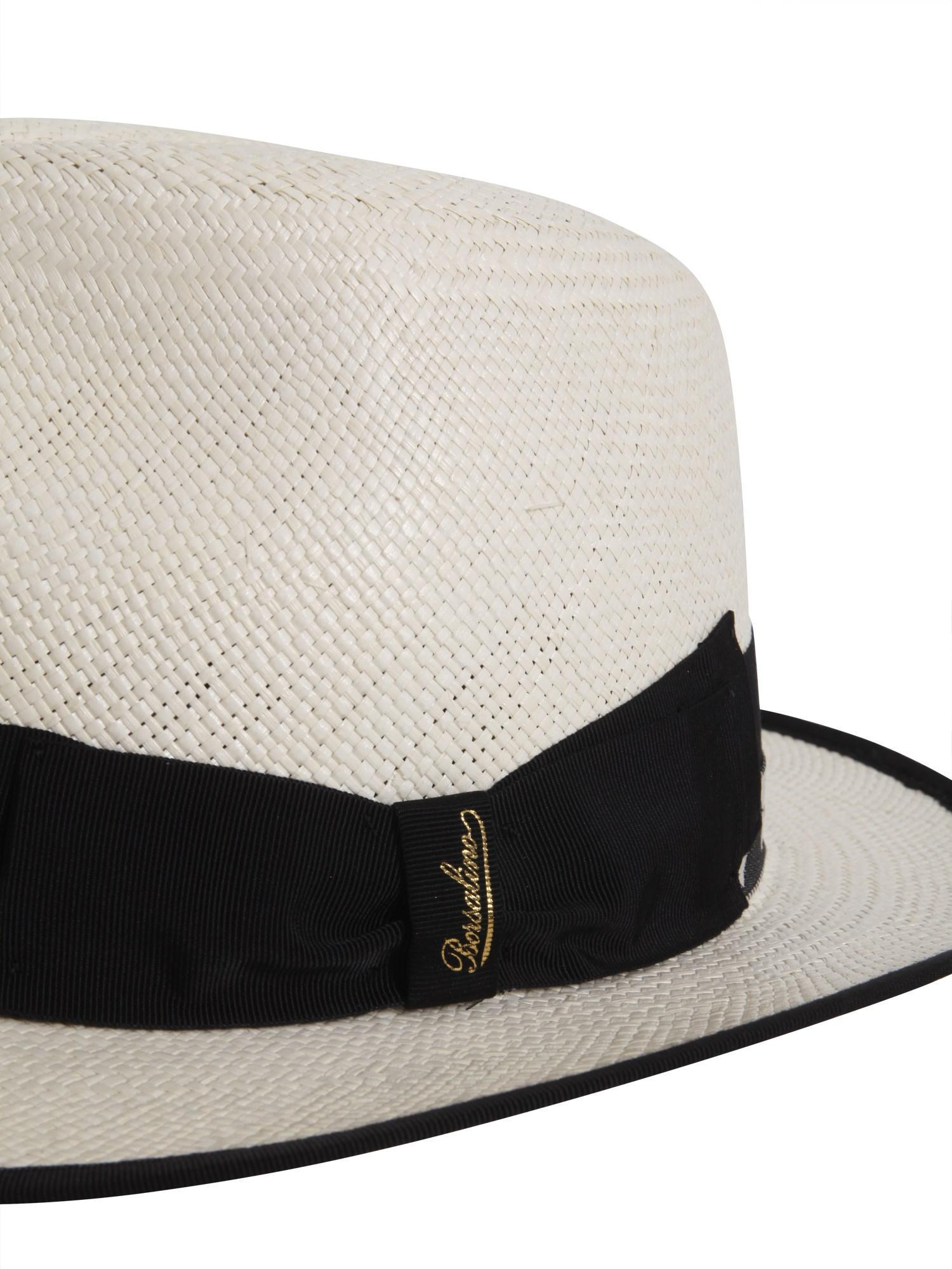 Borsalino - White Panama Quito Jacquard Straw Cap - Lyst. View fullscreen 27397b83f725