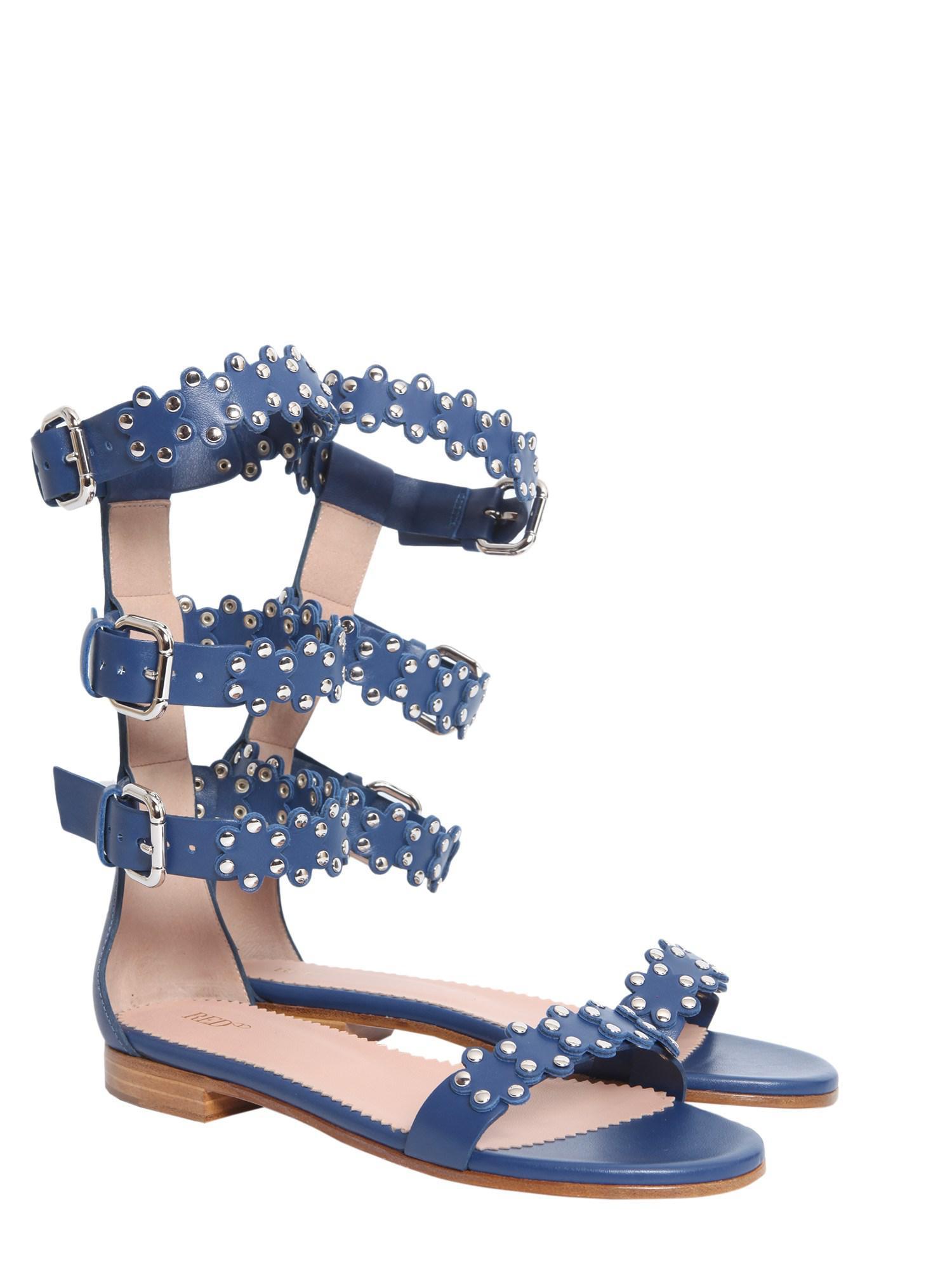Sandales Puzzle De Fleurs - Valentino Rouge Bleu wXpPBB