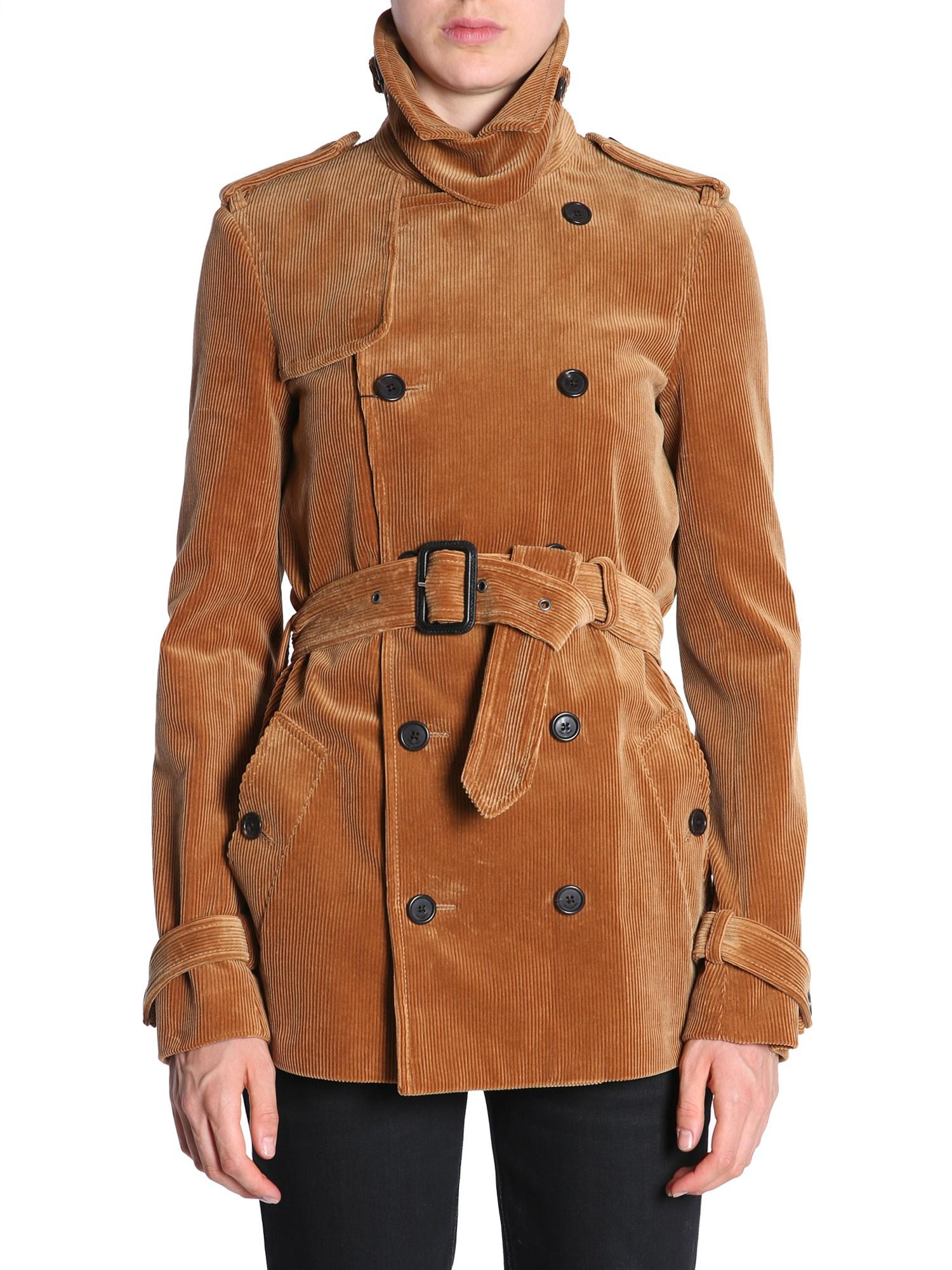 79a8619da06 Saint Laurent Ribbed Velvet Double Breasted Trench Coat in Brown - Lyst