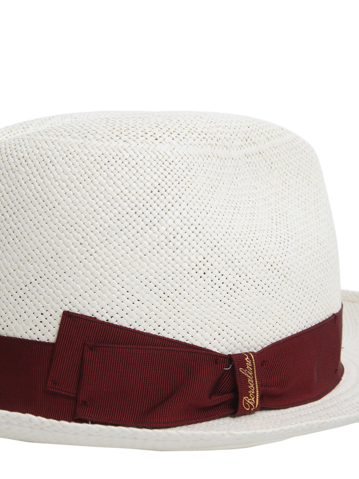 Borsalino - White Panama Quito Jaquard Tesa Media In Paglia - Lyst. View  fullscreen 7341068058fb