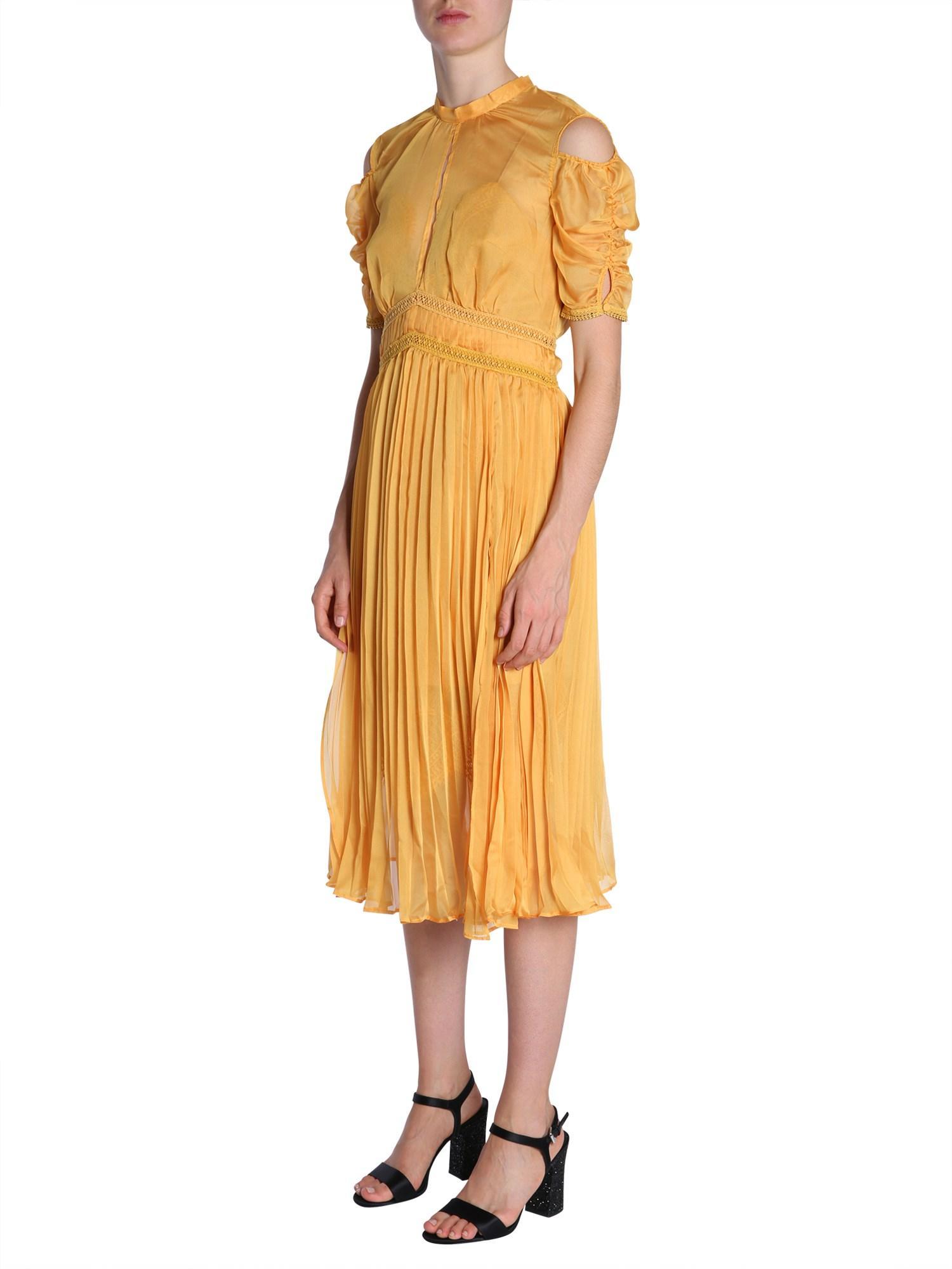 b4dfcb3f0924 Self-Portrait Pleated Chiffon Midi Dress in Yellow - Save 36% - Lyst