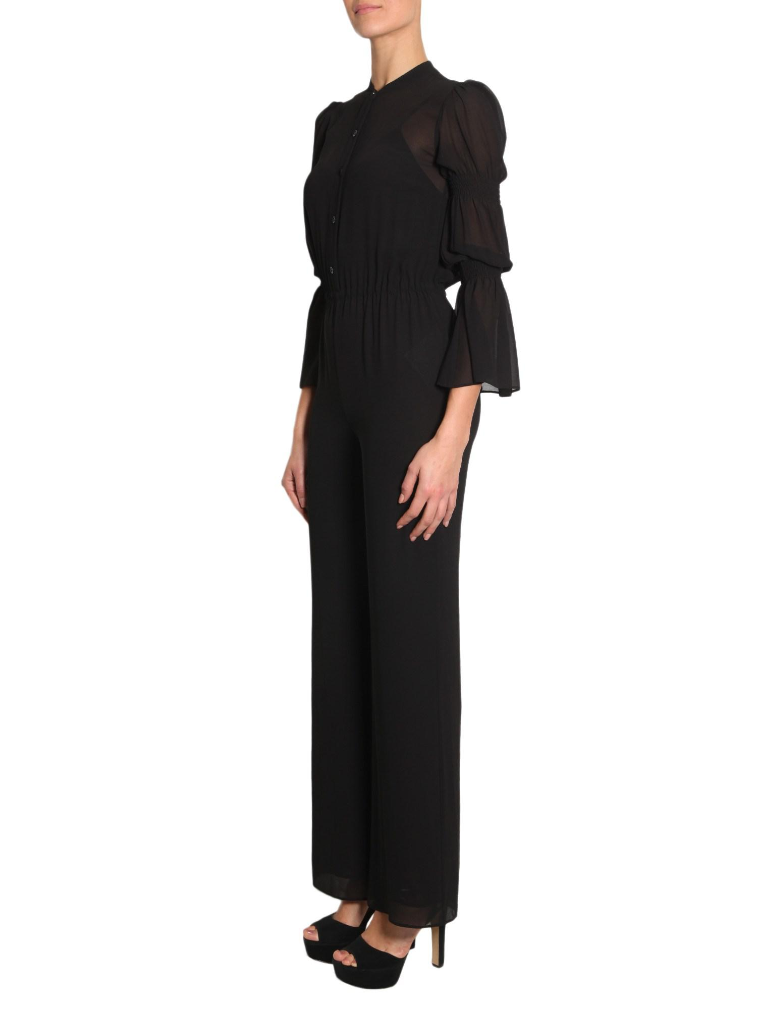 34149d7ba2d MICHAEL Michael Kors Long Sleeve Crêpe Jumpsuit With Smocked Detail in  Black - Lyst