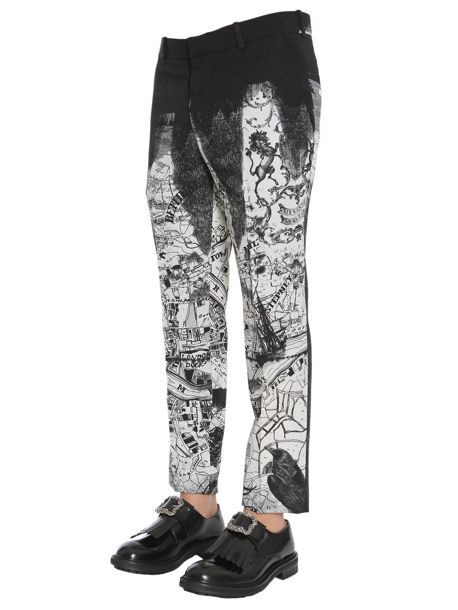 Alexander McQueen Wool Printed Tailored Trousers in Ivory (White) for Men