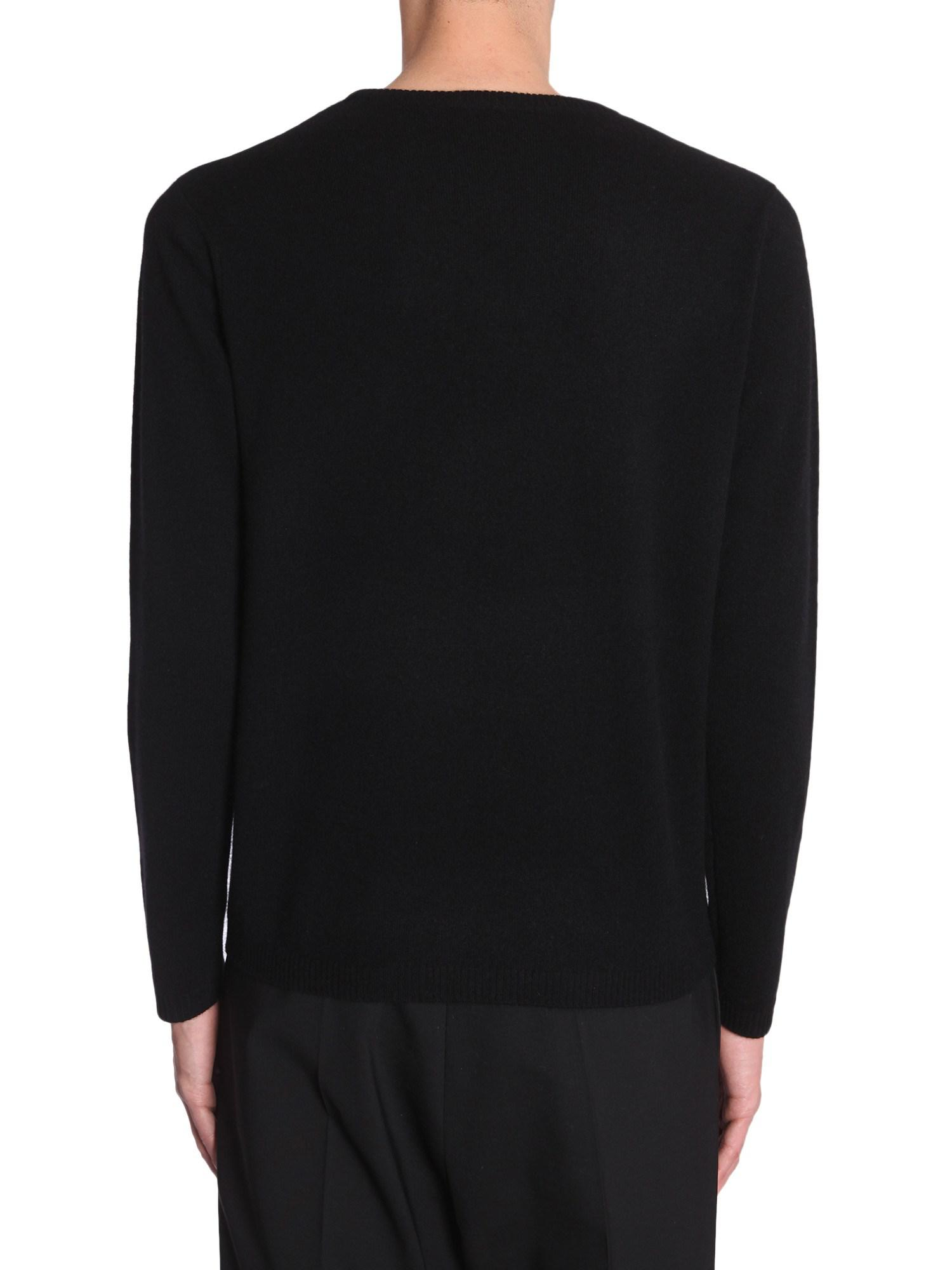 Bella Freud Dog Intarsia Cashmere Sweater in Black for Men