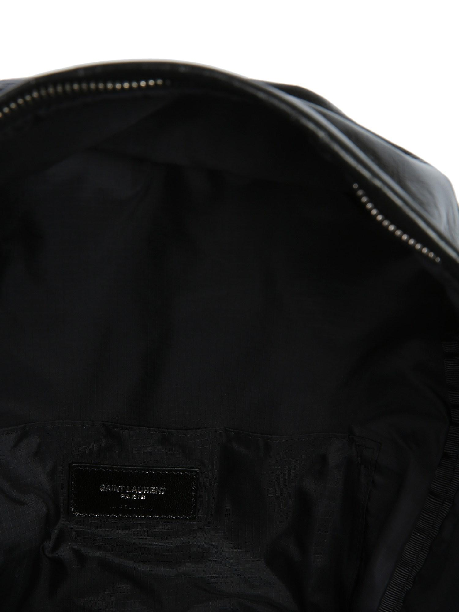 7f2fb8d4dfcb Lyst - Saint Laurent Foldable Leather City Backpack in Black