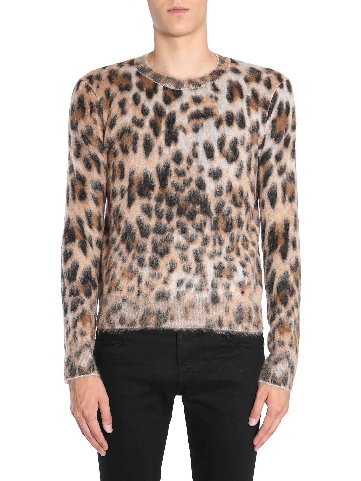 d3ef59aa6f0 Lyst - Saint Laurent Textured Leopard Print Sweater in Brown for Men - Save  55%