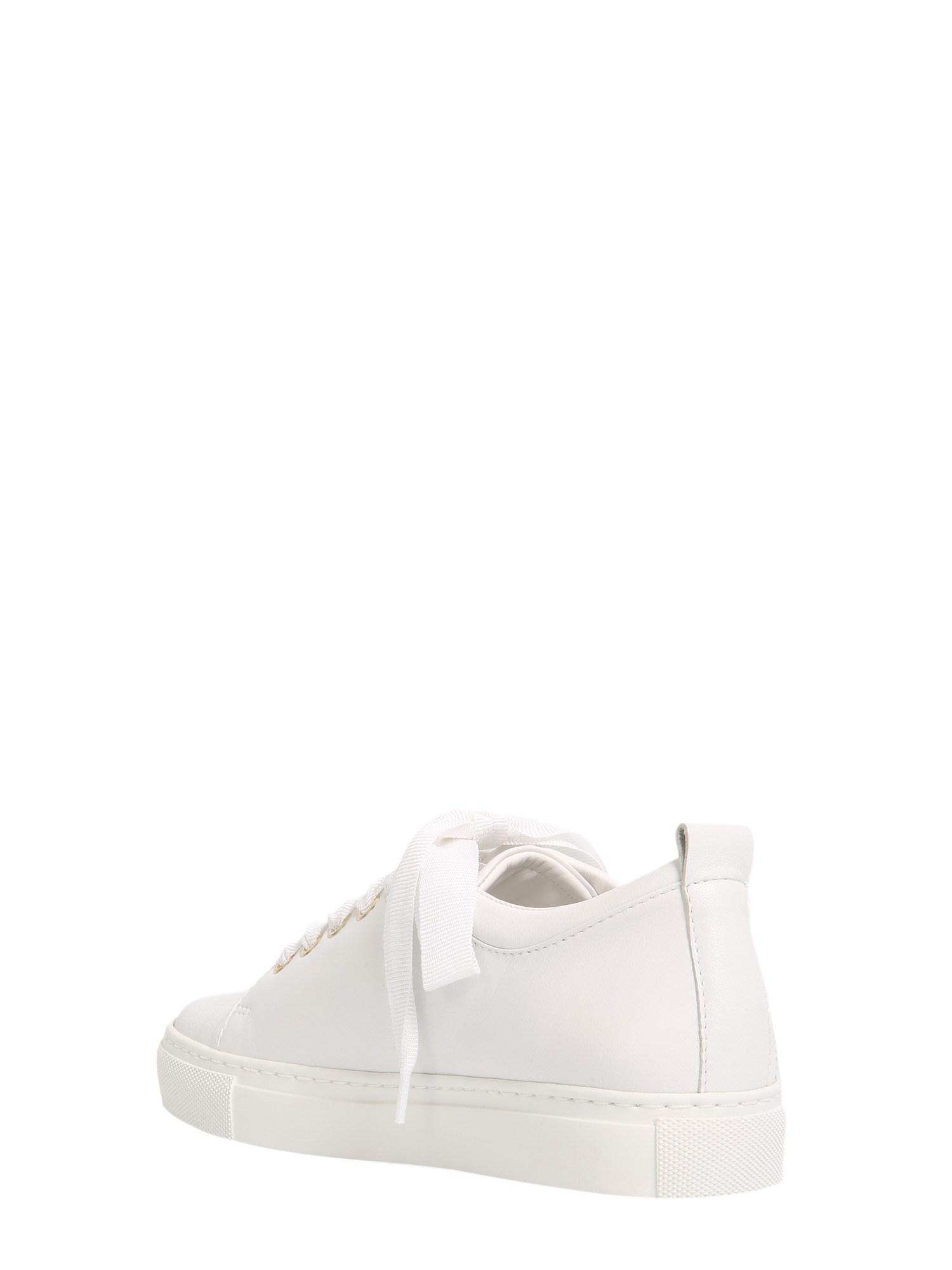 Lanvin Logo Perforated Lace-up Sneakers in White