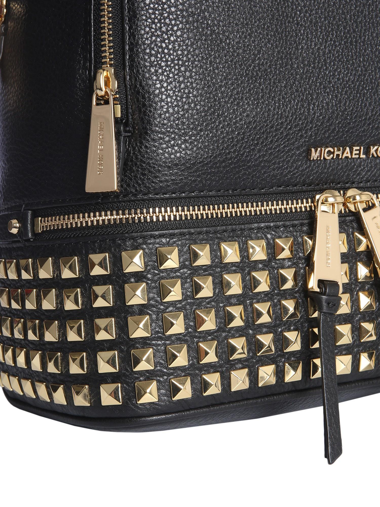 52ec552939b3 MICHAEL Michael Kors. Women's Black Rhea Zip Studded Leather Backpack