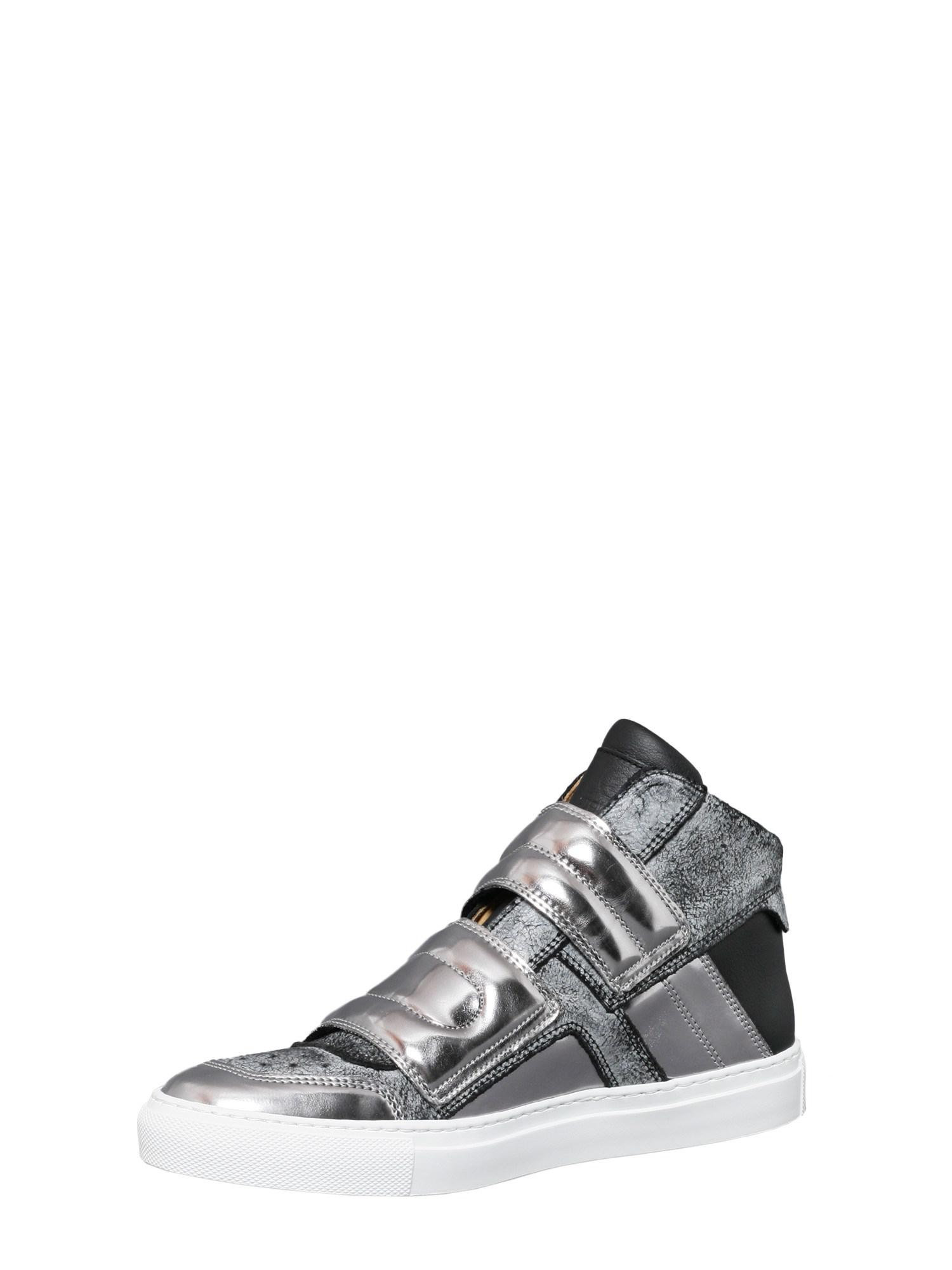 MM6 by Maison Martin Margiela High Top Leather Sneakers With Double Strap in Black