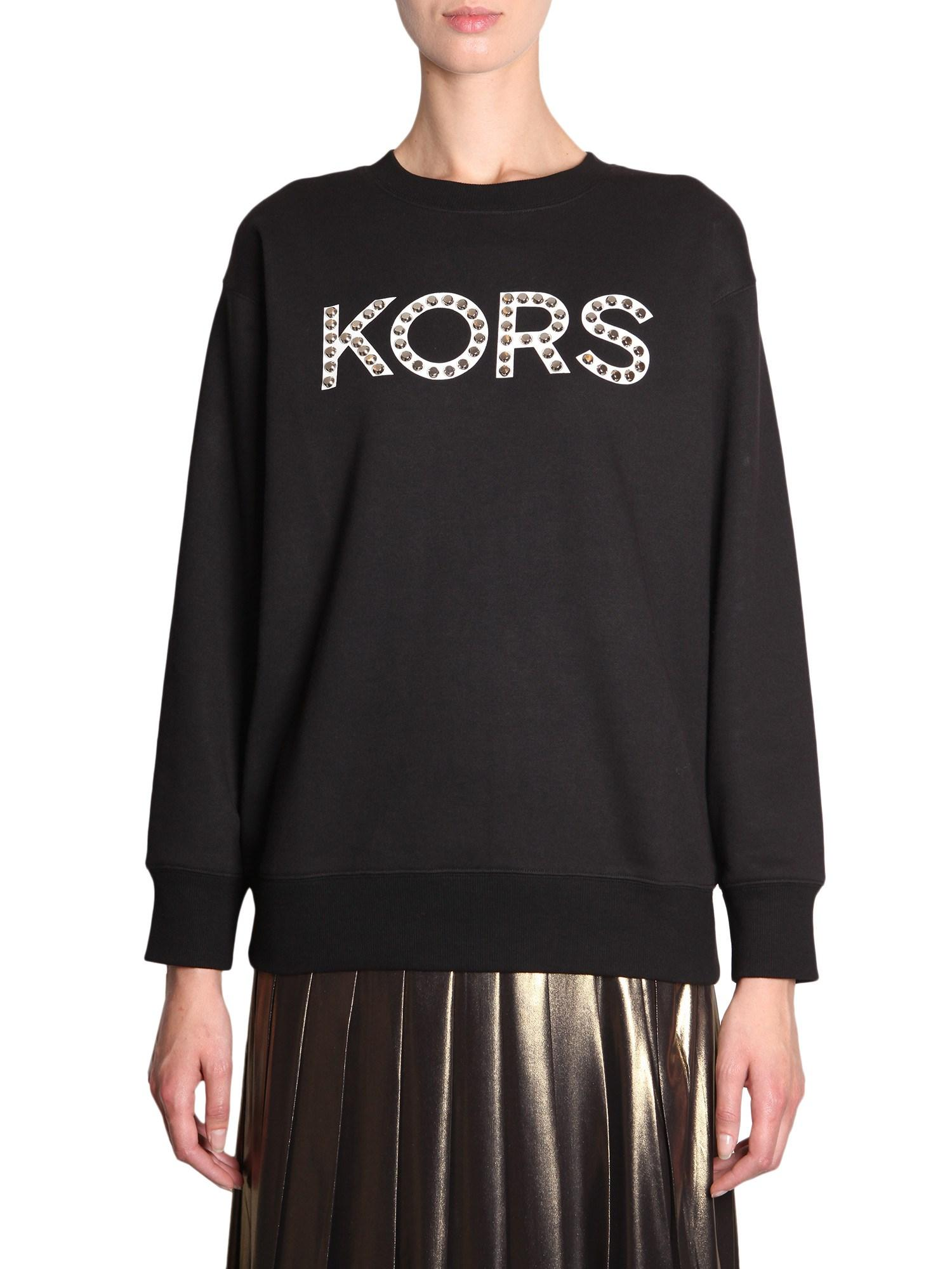 c2327c751ab MICHAEL Michael Kors - Black Cotton Mixed Sweatshirt With Studded Logo -  Lyst. View fullscreen