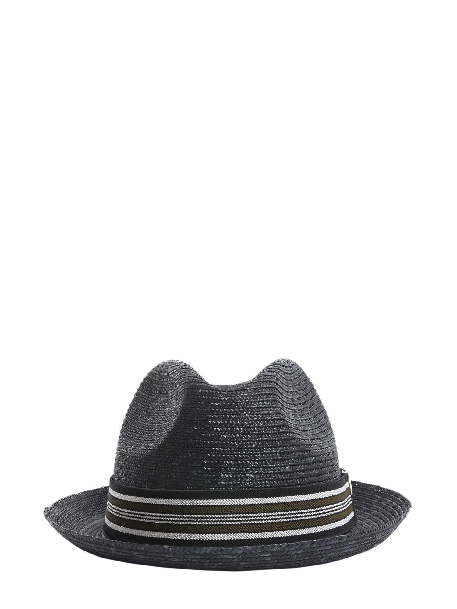 effef49a888 Lyst - Borsalino Suspender Straw Cap in Black for Men