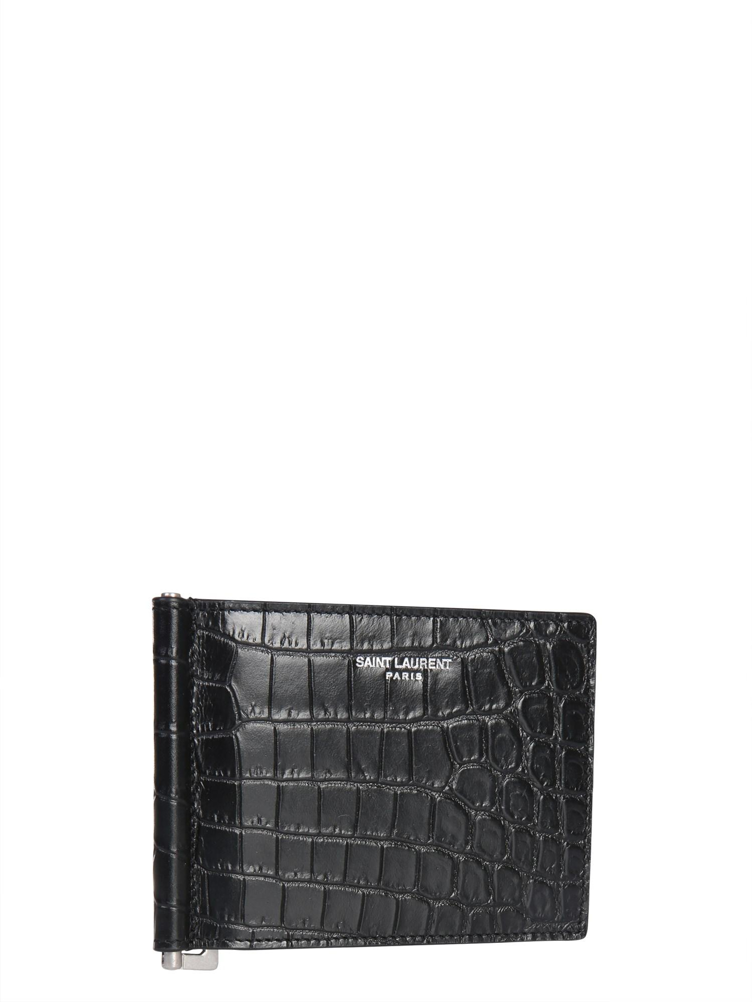 902a697764b Lyst - Saint Laurent Crocodile Printed Leather Card Holder in Black for Men