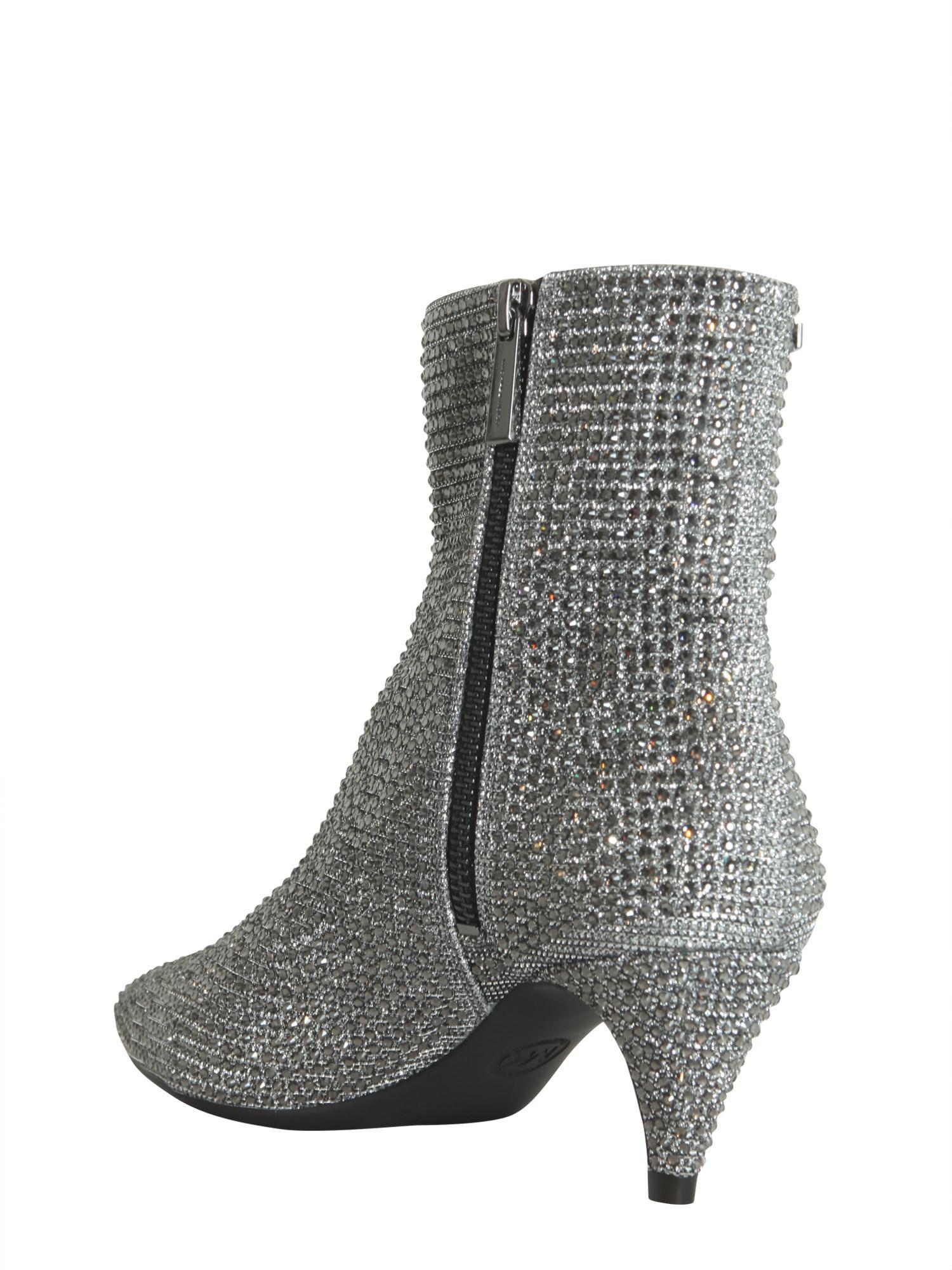 eaf889d10b7 MICHAEL Michael Kors Blaine Flex Kitten Glitter Ankle Boots in White ...