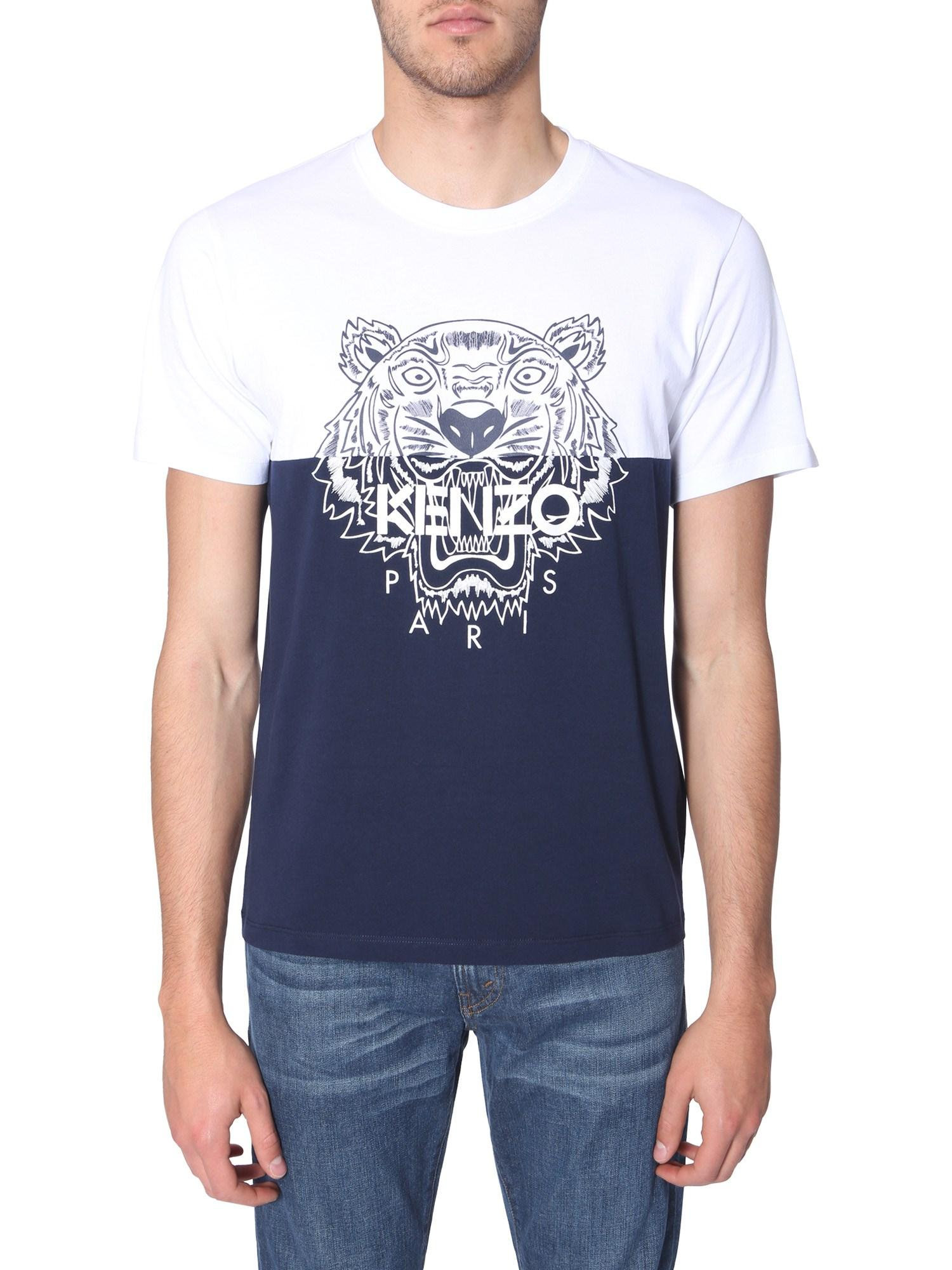 2539c99fb KENZO Tiger Print Round Neck Color Block Cotton T-shirt in Blue for Men -  Lyst