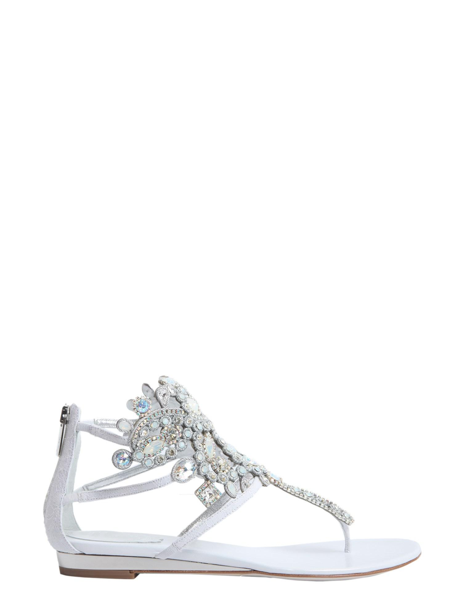 f64d77b57cc Lyst - Rene Caovilla Crystal Embellished Leather Flips in White