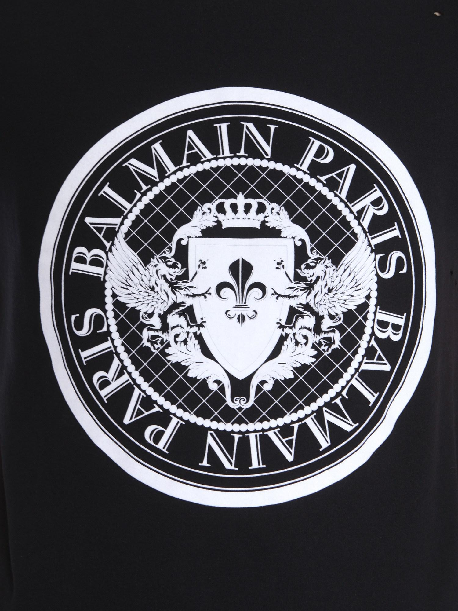 18aedc5e Balmain Round Collar Cotton T-shirt With Velvet Logo in Black for ...