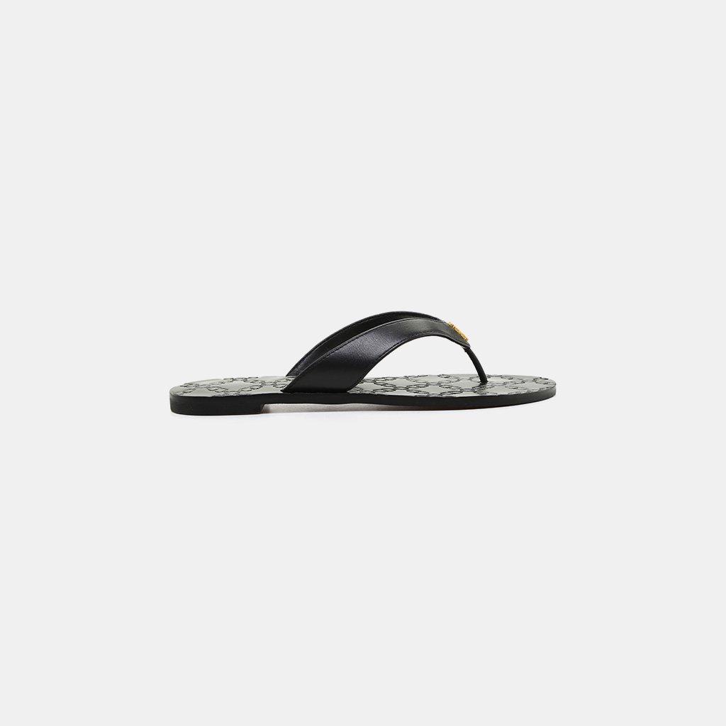 c1e85731da9b Lyst - Tory Burch Monroe Double-t Logo Thong Sandal in Black