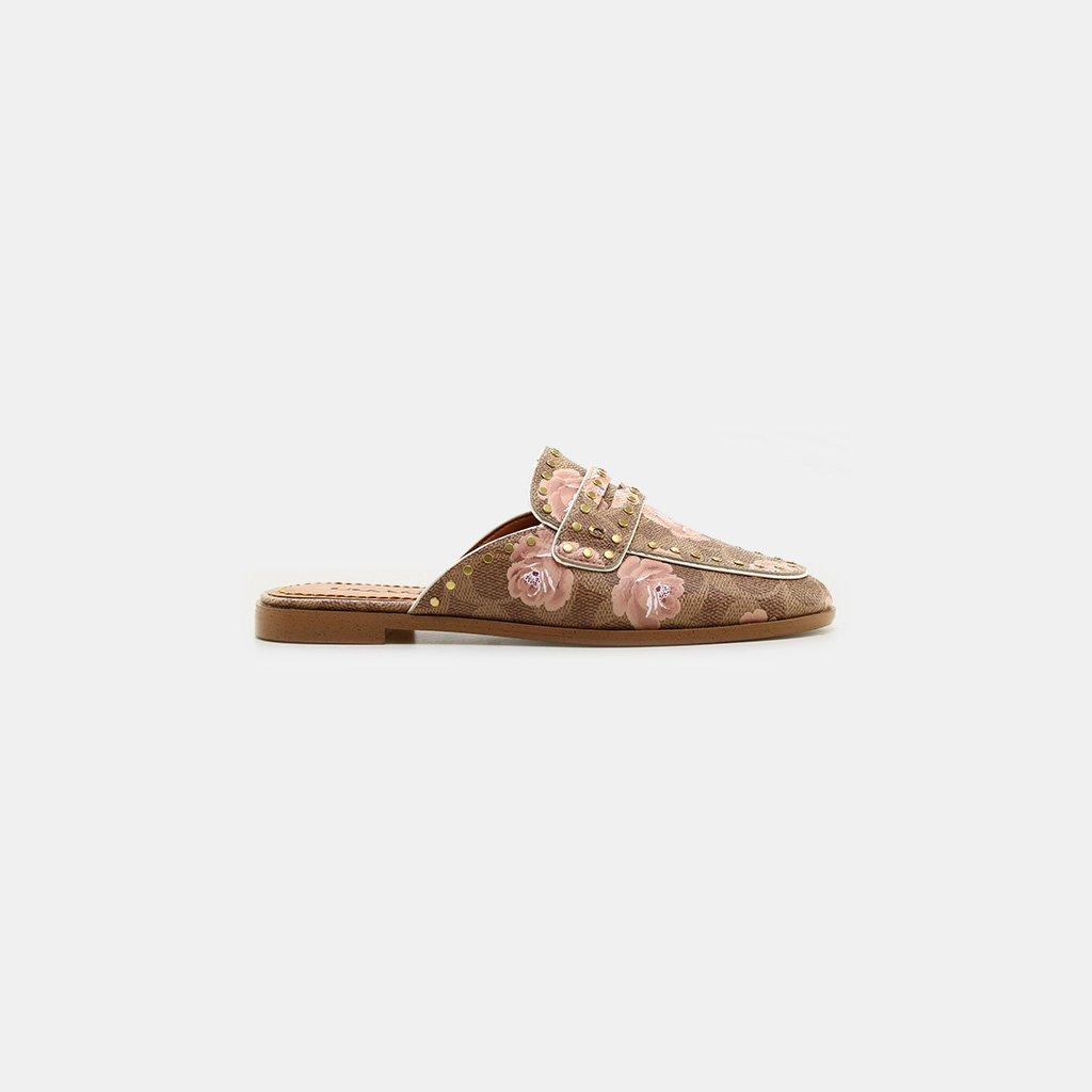 Signature Rose Slide Coated In Fiona Canvas Loafer Coach Lyst Ib7gm6Yfyv