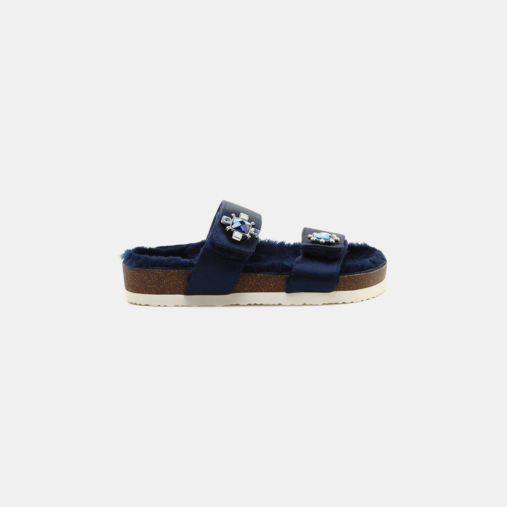 138448bd3 Lyst - Tory Burch Celia Two-band Sandal Perfect Navy Satin in Blue