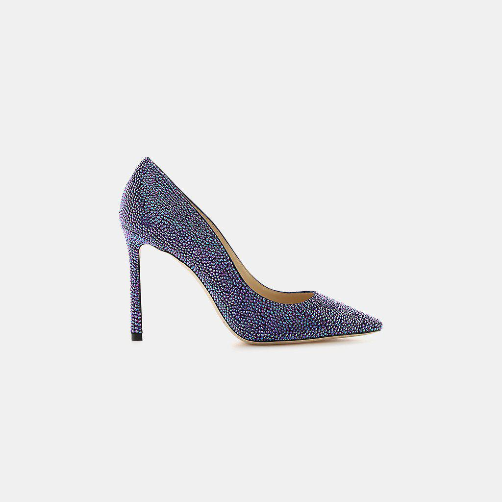 Jimmy Choo. Women's Blue Romy 100 Coarse Glitter Fabric Pointy-toe Pump
