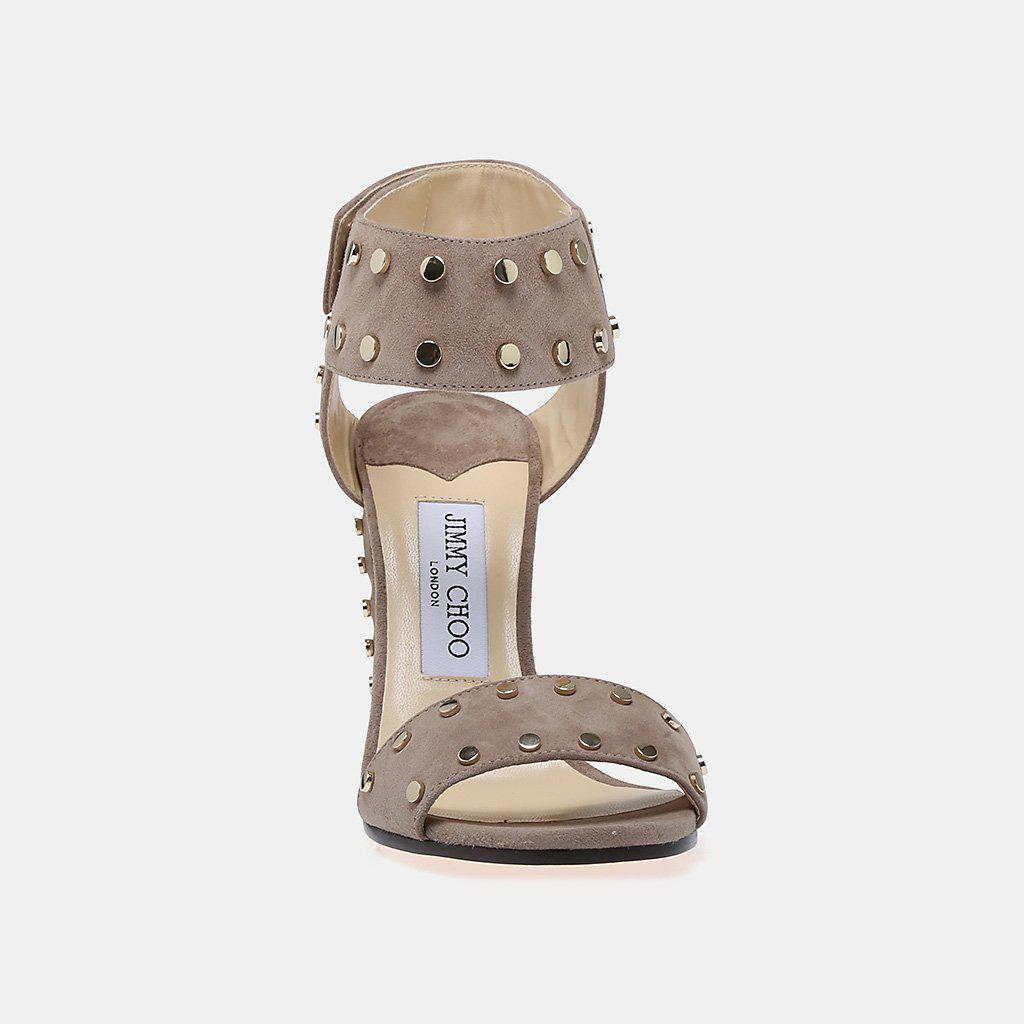 53b36a6f2503 Lyst - Jimmy Choo Veto 100 Suede Studded Block-heel Sandal