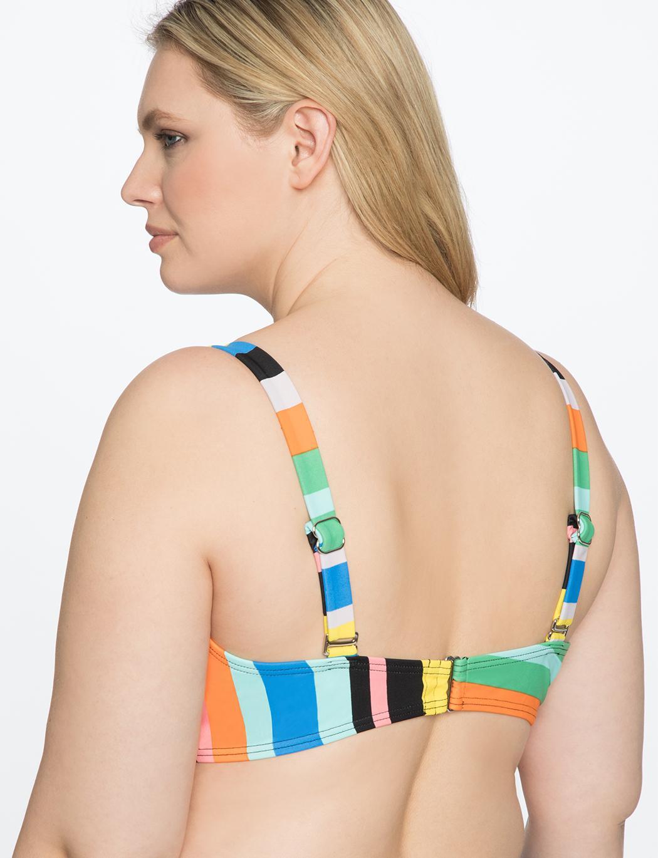 3e270c8eec81b Lyst - Eloquii Tie Front Stripe Bikini Top in Blue