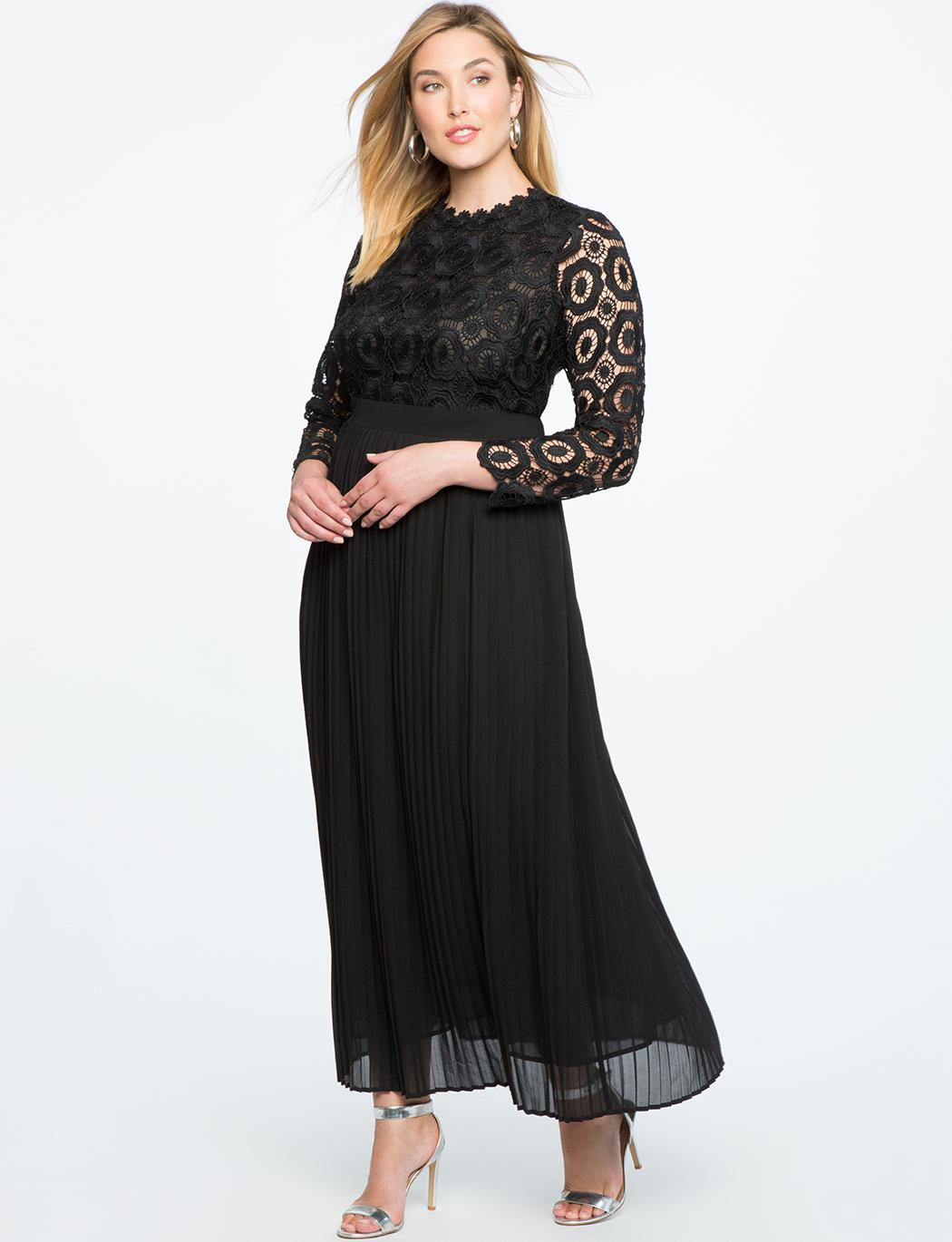 Lyst - Eloquii Lace Evening Dress With Pleated Skirt in Black
