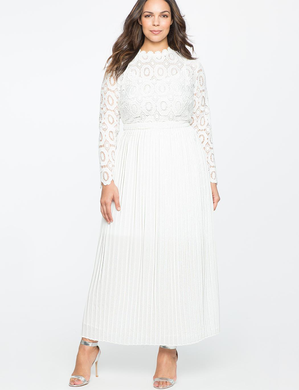 Lyst - Eloquii Lace Evening Dress With Pleated Skirt in White